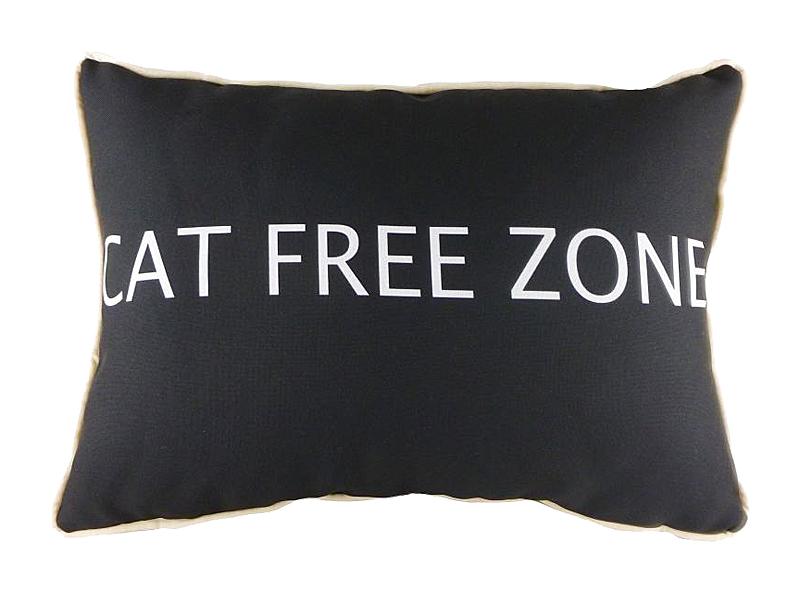 Подушка с надписью Cat Free ZoneПрямоугольные подушки<br>Кошки – чудесные животные. Они гибкие и грациозные, нежные и мягкие. И очень любят спать на хозяйских подушках. Предупреждение: подушка «CAT FREE ZONE» только для хозяев! Объясните это своему питомцу, но не слишком доверяйте его послушанию. Ведь наша подушка такая мягкая и уютная, что вам придется сражаться с желающими на нее прилечь.<br><br>Material: Текстиль<br>Length см: 46<br>Width см: 33<br>Height см: 6