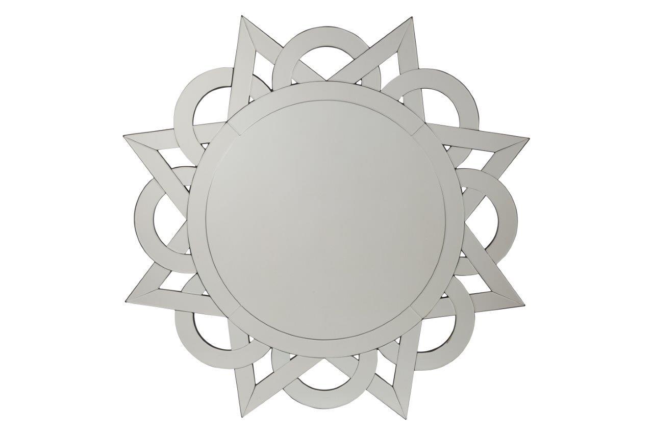 Зеркало SilbaНастенные зеркала<br>Зеркало Silba — стильный предмет декора интерьера и безусловное его украшение. Оно будет удачно смотреться как в комнате с модной зеркальной мебелью, так и в любой другой обстановке. Оригинальная рама, выполненная в виде переплетенных серебряных треугольников и кругов придает аксессуару неповторимый и роскошный вид. Несомненно, оно замечательно впишется в интерьер вашего дома. Поразите своих гостей!<br><br>Material: Стекло<br>Length см: None<br>Depth см: 1<br>Diameter см: 101