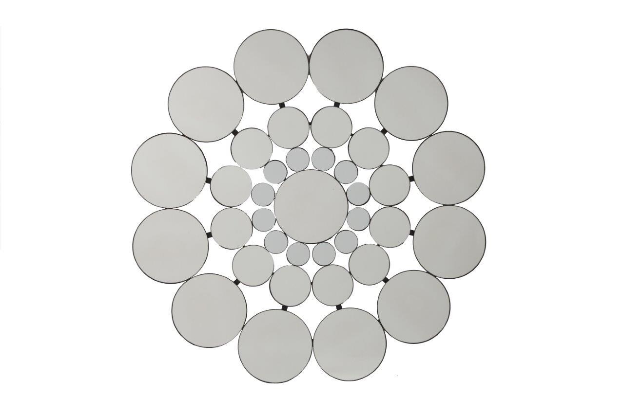 Зеркало AlmaharaНастенные зеркала<br>Оригинальное зеркало способно создать хорошее настроение, новое впечатление, подчеркнуть или полностью изменить интерьер вашего дома. Зеркало Almahara состоит из множества зеркальных кружочков разного размера, что придает ему необычный ажурный вид. Несомненно, оно замечательно впишется в интерьер вашего дома.&amp;lt;div&amp;gt;&amp;lt;br&amp;gt;&amp;lt;/div&amp;gt;Материал: мдф, зеркало<br><br>Material: Стекло<br>Depth см: 3<br>Diameter см: 79