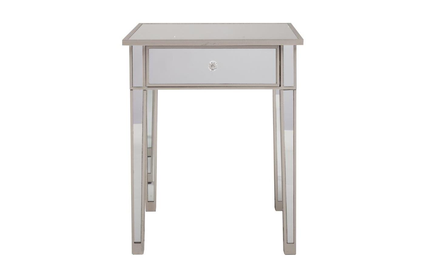 Столик FelicityПриставные столики<br>&amp;lt;div&amp;gt;Felicity – это воплощение старины и шика одновременно. &amp;amp;nbsp;Дизайнеры DG Home отлично поработали над сочетанием нескольких стилей и создали вот такое эклектичное чудо. Это ведь просто стол на четырех ножках. Но фигурная ручка, матовая поверхность и миниатюрный ящик говорят о французской изящности. А в строгих прямых линиях угадывается минимализм.&amp;lt;br&amp;gt;&amp;lt;/div&amp;gt;&amp;lt;div&amp;gt;&amp;lt;br&amp;gt;&amp;lt;/div&amp;gt;Материал: мдф, зеркало<br><br>Material: МДФ<br>Length см: 60,45<br>Width см: 60,45<br>Height см: 73,66