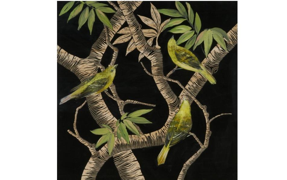 Картина Birds in the jungleКартины<br>Загадочная картина &amp;quot;Birds in The Jungle&amp;quot; украсит тематические, эклектичные или современные интерьеры. Благодаря ярким цветам она оживит собой пространство, добавив его оформлению самобытность. Оригинальное сочетание травяного, черного и бежевого оттенков позволит озарить гостиную или кухню аурой тропической свежести.&amp;amp;nbsp;&amp;lt;div&amp;gt;&amp;lt;br&amp;gt;&amp;lt;/div&amp;gt;&amp;lt;div&amp;gt;Отделка: дерево.&amp;lt;/div&amp;gt;<br><br>Material: Дерево<br>Length см: None<br>Width см: 60<br>Depth см: 4<br>Height см: 60