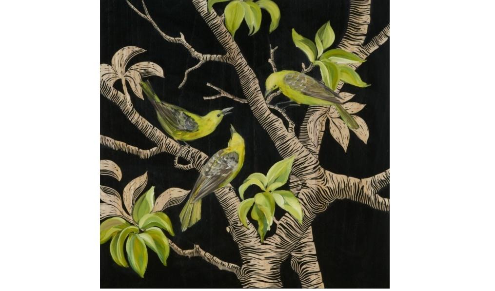 Картина Birds in the jungleКартины<br>&amp;quot;Birds in The Jungle&amp;quot; ? яркая, красочная картина, которая способна принести в ваш дом кусочек тропического леса. На ней изображены птицы, спрятавшиеся от людских глаз среди зеленых листьев. На черном фоне они смотрятся оригинально и самобытно. Картина великолепно будет сочетаться с интерьерами эклектичных кухонь или гостиных.&amp;lt;div&amp;gt;&amp;lt;br&amp;gt;&amp;lt;/div&amp;gt;&amp;lt;div&amp;gt;Отделка: дерево.&amp;lt;/div&amp;gt;<br><br>Material: Дерево<br>Ширина см: 60<br>Высота см: 60<br>Глубина см: 4