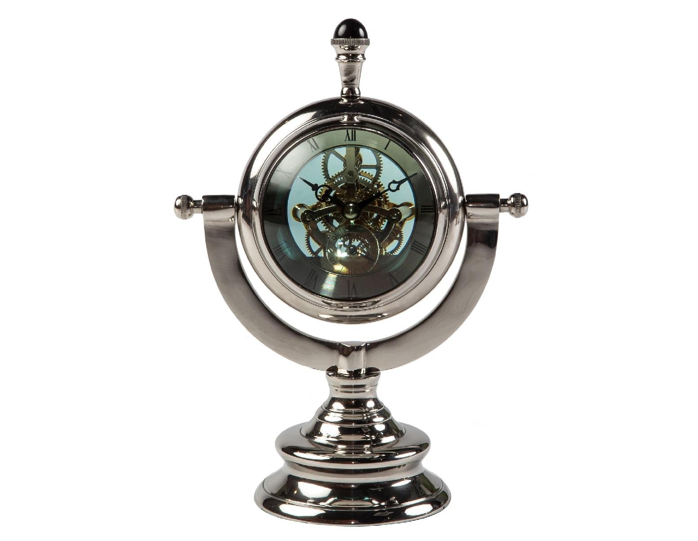 Часы настольныеНастольные часы<br>Доводилось ли вам когда-нибудь видеть, как работает сложный часовой механизм? С настольными часами от MH вы сможете наблюдать за этим увлекательным процессом каждый день. Множество шестеренок, находящихся за прозрачным голубым стеклом изящных полусфер заворожат вас своим магическим непрекращающимся движением. Изысканная подставка добавит очарования конструкции.&amp;amp;nbsp;<br><br>Material: Алюминий<br>Length см: 23<br>Width см: 23<br>Depth см: 14<br>Height см: 32