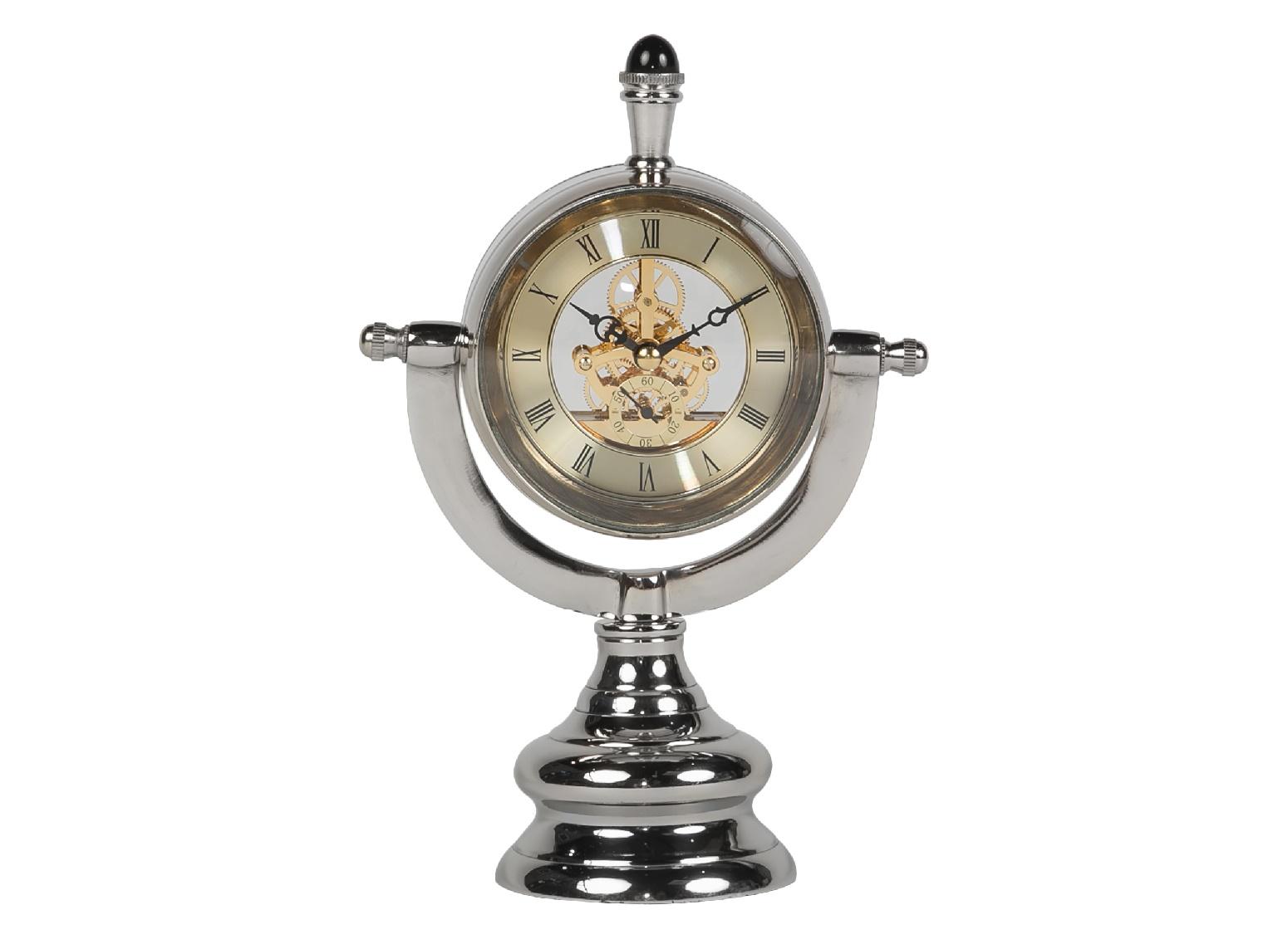 Часы настольныеНастольные часы<br>Настольные часы от MH позволят вам взглянуть на время в новой плоскости. Благодаря открытому механизму вы сможете наблюдать за тем, как слаженно ход шестеренок дарит движение быстротечным секундам. Изящный серебристый корпус в стиле винтажных конструкций XIX века делает облик часов таинственно прекрасным.<br><br>Material: Алюминий<br>Length см: None<br>Width см: 16<br>Depth см: 9<br>Height см: 24