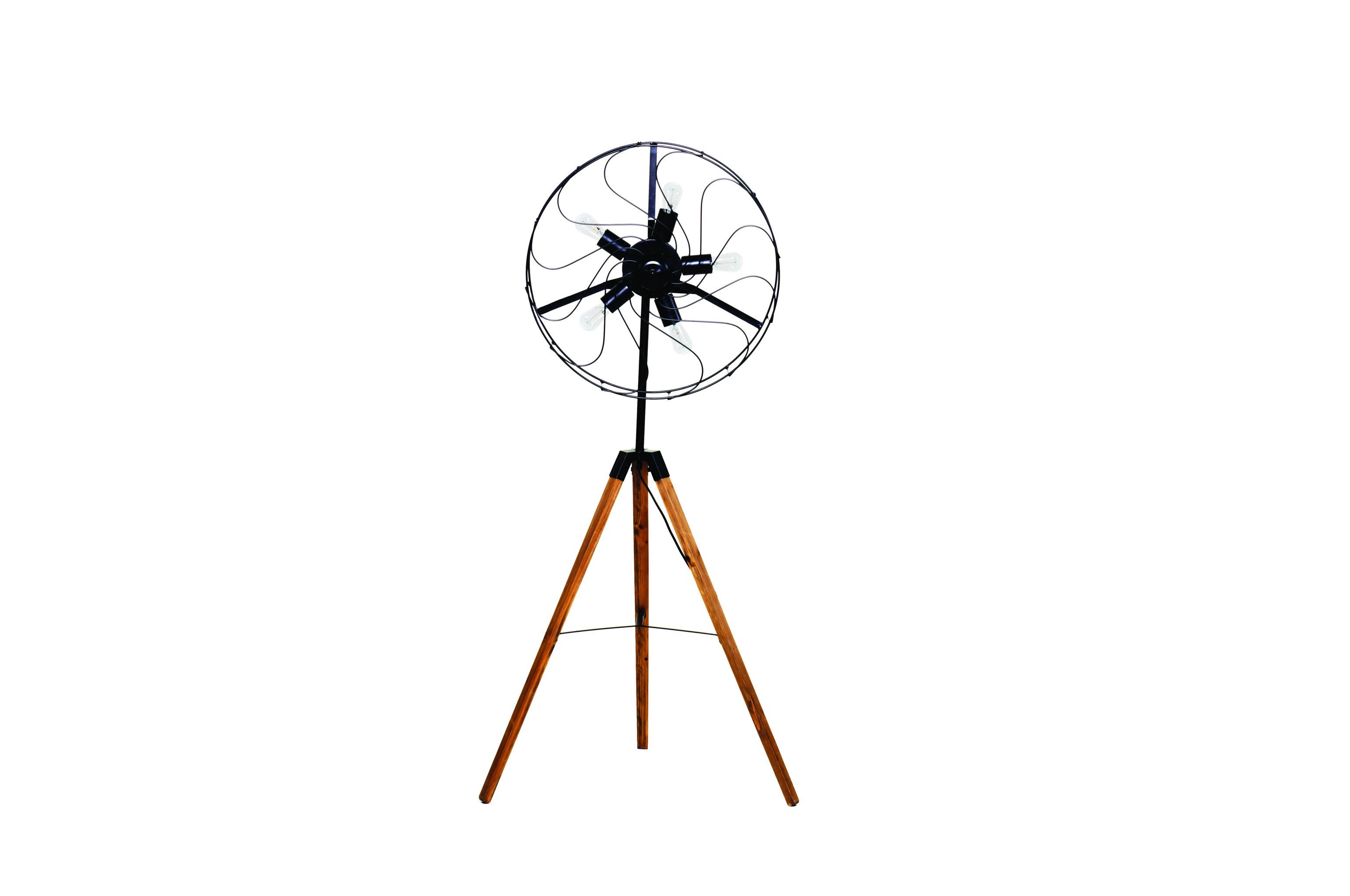 Напольная лампа HelycopterНапольные светильники<br>Лампа &amp;quot;Helycopter&amp;quot; своим силуэтом больше напоминает бытовой вентилятор, чем осветительный прибор. Она выполена содинением необработанных металлических и деревянных деталей, рождающих брутальный стиль лофт. Такая лампа, одновременно являющаяся декором, наполнит комнату прохладой сдержанного, но оригинального промышленного дизайна.&amp;amp;nbsp;<br><br><br><br>&amp;lt;div&amp;gt;&amp;lt;br&amp;gt;&amp;lt;/div&amp;gt;&amp;lt;div&amp;gt;Галогенная&amp;amp;nbsp;&amp;lt;/div&amp;gt;&amp;lt;div&amp;gt;Цоколь: Е14&amp;amp;nbsp;&amp;lt;/div&amp;gt;&amp;lt;div&amp;gt;Мощность: 60W&amp;amp;nbsp;&amp;lt;/div&amp;gt;&amp;lt;div&amp;gt;5 ламп в комплект не входят&amp;lt;/div&amp;gt;<br><br>Material: Металл<br>Length см: 54<br>Width см: 60<br>Height см: 142