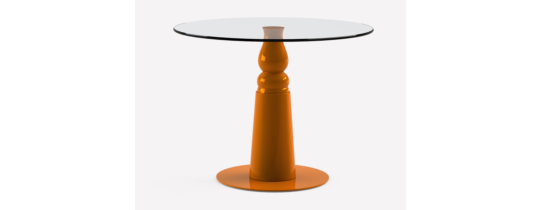 Стол Ignis OrangeВинные, коктейльные столики<br>Небольшой коктейльный столик из закаленного стекла на конусовидном фигурном основании из дерева, окрашенного в глянцевый оранжевый цвет. Стильный аксессуар для современного интерьера.<br><br>Цвет: оранжевый<br>Срок изготовления 2-3 недели<br>Размер столешницы: диаметр 800 мм; толщина 10 мм<br>Мы можем предложить любой вариант столешницы в меньшую сторону d700,d600 и т.д.<br><br>Material: Стекло<br>Length см: None<br>Width см: None<br>Depth см: None<br>Height см: 75<br>Diameter см: 80