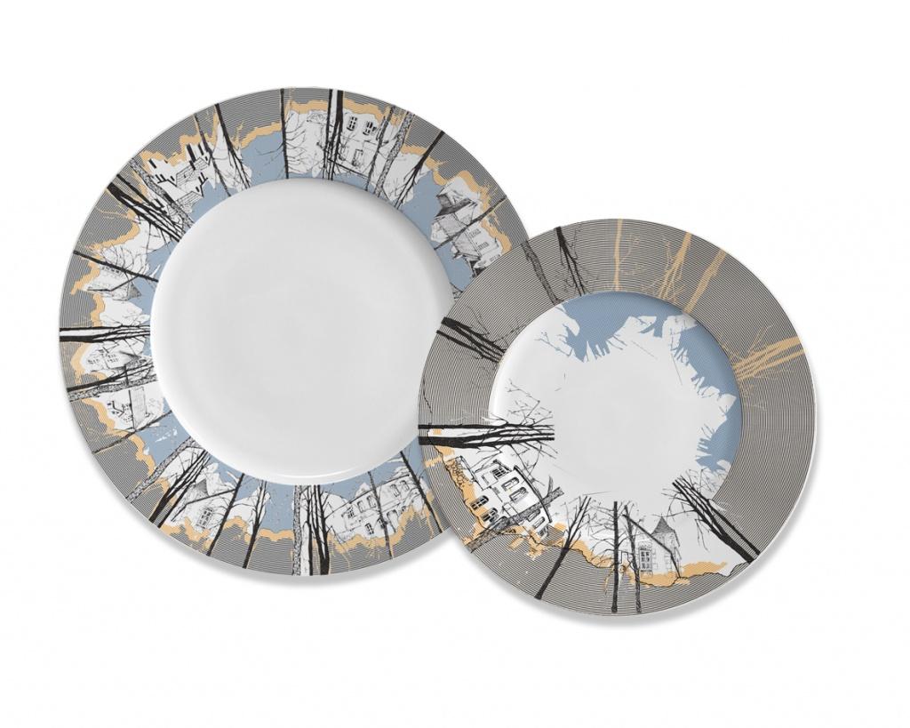 Дачи, сет из двух тарелокДекоративные тарелки<br>В сет входят:&amp;lt;br&amp;gt;Тарелка столовая 275 мм&amp;lt;br&amp;gt;Тарелка десертная 220 мм&amp;lt;br&amp;gt;Материал изготовления: Костяной фарфор&amp;lt;br&amp;gt;<br><br>Material: Фарфор