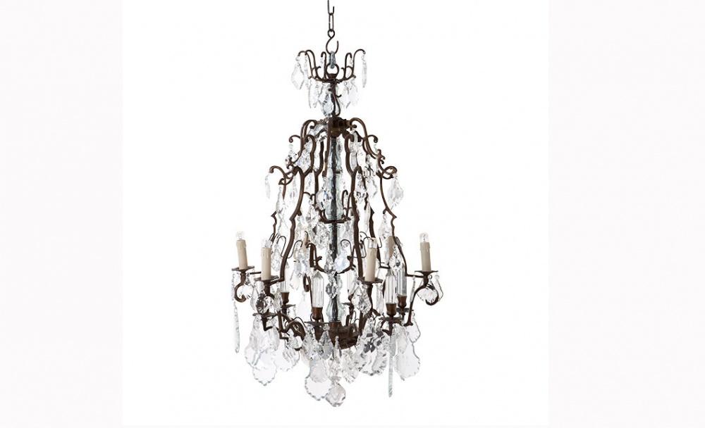 Люстра Chateau de WidevilleЛюстры подвесные<br>&amp;lt;div&amp;gt;Люстра Chateau de Wideville на кованной металлической арматуре цвета античная латунь с патиной. Декор: прозрачные хрустальные подвески на арматуре. Высота светильника регулируется за счет звеньев цепи. Лампочки в комплект не входят.&amp;lt;br&amp;gt;&amp;lt;/div&amp;gt;&amp;lt;div&amp;gt;&amp;lt;br&amp;gt;&amp;lt;/div&amp;gt;&amp;lt;div&amp;gt;Количество ламп (8П), цоколь (14Е), мощность (40Вт).&amp;lt;/div&amp;gt;<br><br>Material: Латунь<br>Length см: 60<br>Width см: 60<br>Height см: 90