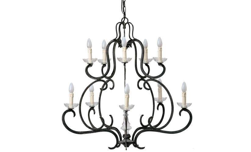 Люстра Lanquedoc noire GMЛюстры подвесные<br>&amp;lt;div&amp;gt;Эта люстра претендует на звание скромной, но элегантной персоны. Кованые изгибы металла образуют двухъярусную люстру на 10 свечей. Образ горящей свечи в дизайне&amp;amp;nbsp;&amp;quot;Lanquedoc noire GM&amp;quot; продуман до мелочей. Каждая лампа установлена в отдельный прозрачный подсвечник, а вверху образованы восковые подтеки. Идеальна для строгих английских интерьеров.&amp;lt;/div&amp;gt;&amp;lt;div&amp;gt;&amp;lt;br&amp;gt;&amp;lt;/div&amp;gt;&amp;lt;div&amp;gt;Количество ламп (10П), цоколь (14Е), мощность (60Вт).&amp;lt;/div&amp;gt;<br><br>Material: Железо<br>Length см: 85<br>Width см: 85<br>Height см: 90