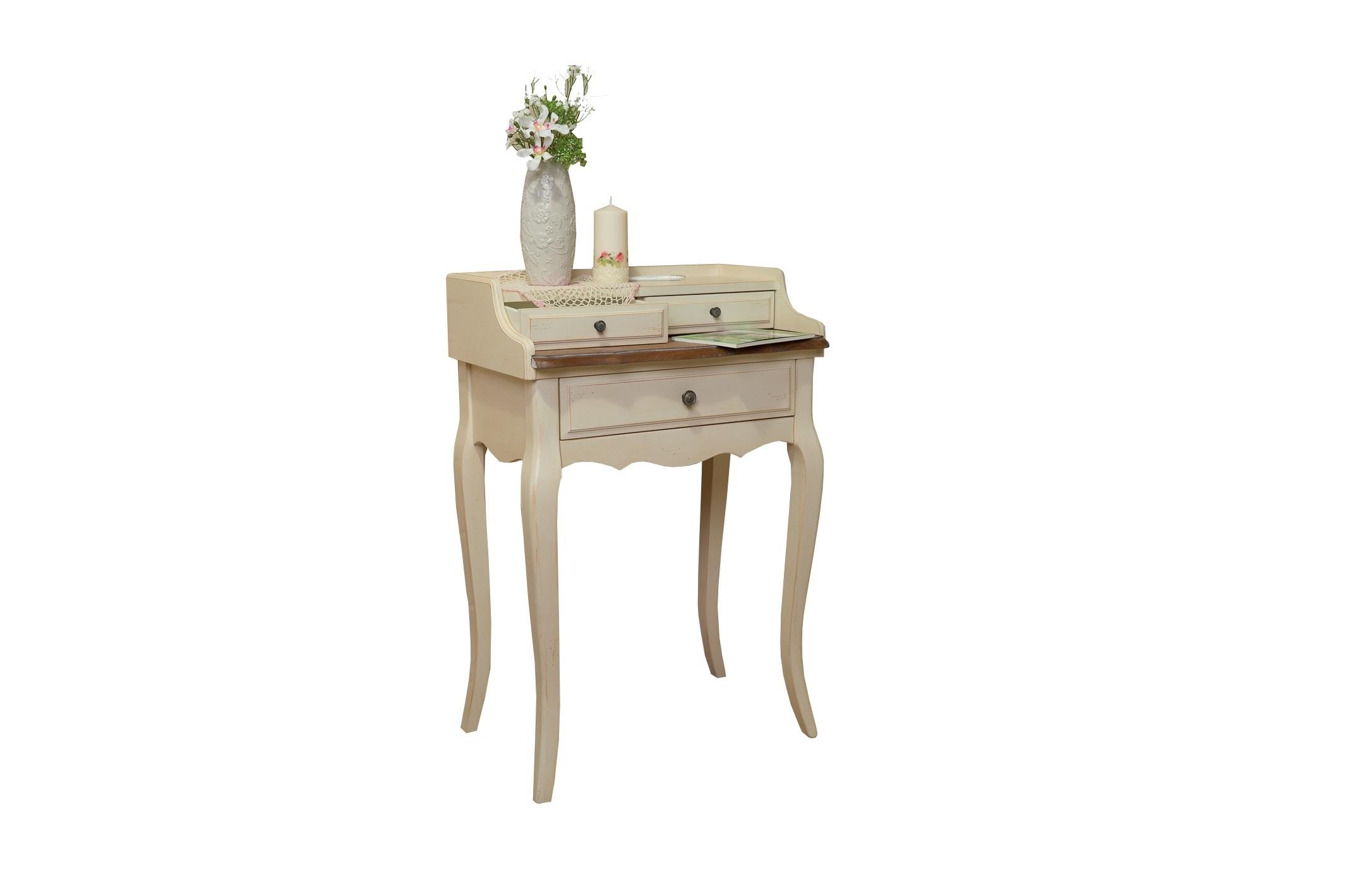 Столик Blanc bonbonТуалетные столики<br>Туалетный столик &amp;quot;Blanc Bonbon&amp;quot; позволит вам создать уголок красоты даже в небольшой по площади спальне. Благодаря миниатюрной конструкции и светлой гамме отделки он не будет скрадывать пространство. Этот столик наполнит его утонченностью и романтичностью, традиционными для стиля прованс.<br><br>Material: Дерево<br>Length см: 62<br>Width см: 42<br>Height см: 91