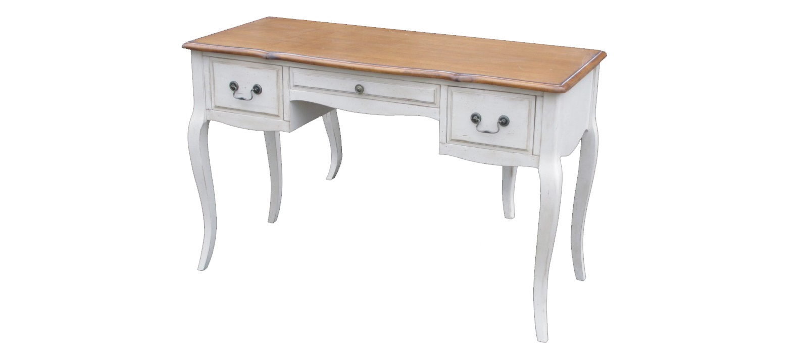Письменный столПисьменные столы<br>Любая работа за этим письменным столом превратится в настоящее удовольствие. Плавные формы, в которых угадывается знакомый силуэт роскошной французской мебели, будут завораживать своей элегантностью. Гладя на изящные изгибы, вы сможете отвлечься от трудных задач и переключить внимание на что-то прекрасное. Быстрому повышению работоспособности во время пятиминутки отдыха также позволят естественные природные цвета, идеально дополняющие оформление в стиле прованс.<br><br>Material: Дерево<br>Length см: 120<br>Width см: 50<br>Height см: 76