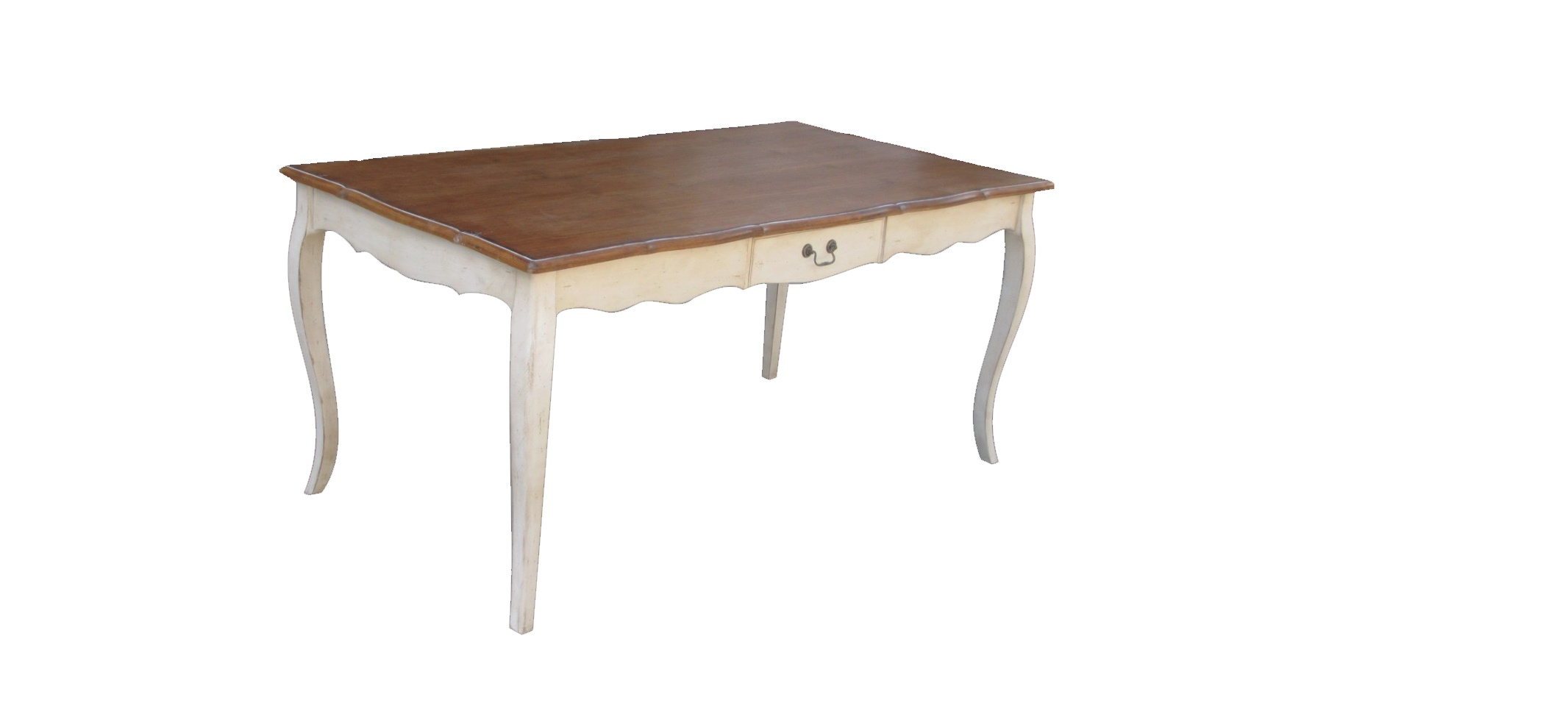 Стол обеденныйОбеденные столы<br>Этот обеденный стол позволит вам собрать за вкусным ужином всю семью и близких друзей. Он приманит их не только аппетитными блюдами, но и завораживающим обликом. Изящные резные детали, чья притягательность подчеркнута изогнутыми ножками, создадут образ, полный шарма. Контраст цветовой гаммы усилит очарование прованского стиля, для которого так подходит светлая и натуральная гамма.<br><br>Material: Дерево<br>Length см: 145<br>Width см: 85<br>Height см: 77