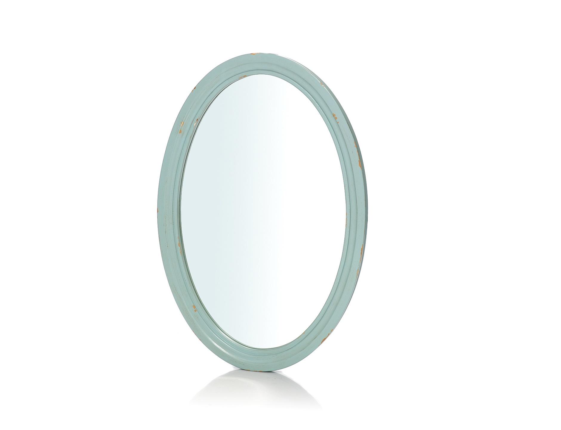 ЗеркалоНастенные зеркала<br>Простота выступает главным лейтмотивом в дизайне этого зеркала. Она позволяет ему выглядеть элегантно, выражая в своей скромности истинное благородство облика. Единственное, чем выделяется овальная рама ? романтичным бирюзовым цветом. В сочетании с патинированием такая гамма выглядит очаровательно, позволяя зеркалу обретать притягательность прованского стиля.<br><br>Material: Дерево<br>Length см: None<br>Width см: 55<br>Depth см: 3<br>Height см: 80