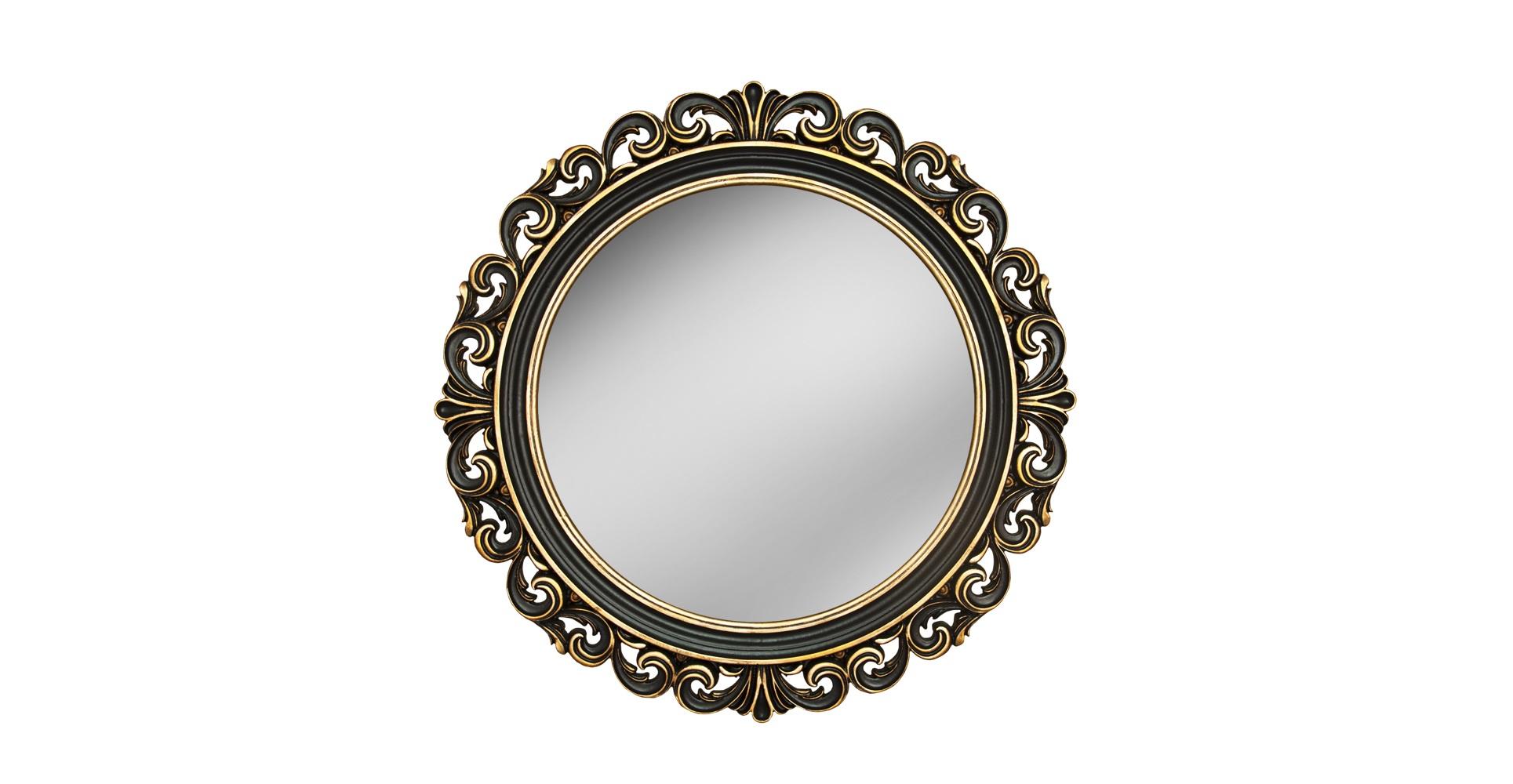 Зеркало РИКИОЛИНастенные зеркала<br>&amp;lt;div&amp;gt;&amp;lt;div&amp;gt;Это винтажное зеркало округлой формы напоминает солнечный диск или античный цветок. Эффектная резная рама изготовлена вручную из мебельного пенополиуретана. Позолота нанесена на темный фон небольшими вкраплениями, словно распылена. Композитный материал очень твердый, устойчивый к воде и пару, а краска безопасна для человека и не выгорает со временем.&amp;lt;/div&amp;gt;&amp;lt;/div&amp;gt;&amp;lt;div&amp;gt;&amp;lt;br&amp;gt;&amp;lt;/div&amp;gt;&amp;lt;div&amp;gt;Исполнение:&amp;amp;nbsp;Венге Золото&amp;lt;/div&amp;gt;<br><br>Material: Полиуретан<br>Length см: None<br>Width см: None<br>Depth см: 4<br>Height см: None<br>Diameter см: 90
