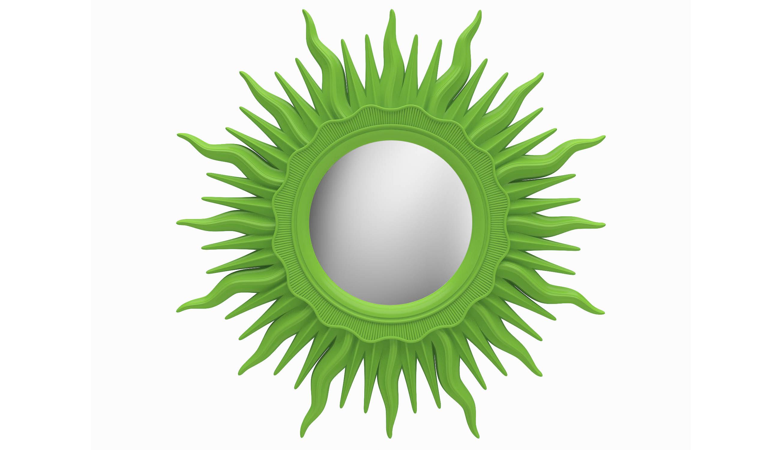 Зеркало АСТРОНастенные зеркала<br>Круглым зеркалом не удивишь. Но если вставить его в раму в виде солнечных лучей, равнодушных не останется. Так устроен наш организм: всегда тянется навстречу светилу, даже бутафорскому и даже… зеленому. Обрамление из композитного полиуретана окрашено в цвет свежий зелени, яркий и позитивный. ППУ ? материал настолько крепкий, что будет служить долгие годы без единого скола.Цвет: Зеленый<br><br>kit: None<br>gender: None