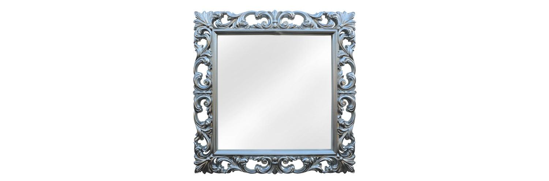 Квадратное зеркало в винтажной рамеНастенные зеркала<br>&amp;lt;tr height=&amp;quot;115&amp;quot;&amp;gt;<br>  &amp;lt;td class=&amp;quot;xl65&amp;quot; style=&amp;quot;height:86.4pt;width:431pt&amp;quot; height=&amp;quot;115&amp;quot; width=&amp;quot;575&amp;quot;&amp;gt;Квадратная рама для этого зеркала изготовлена из мебельного пенополиуретана и окрашена в серебряный цвет, сверху покрытый слоем зеленоватой патины. Композитный материал очень долговечен и прочен, на нем не образуются сколы и трещины. Кроме того, он экологически чистый и абсолютно безопасный для человека. ППУ не боится влаги, ухаживать за ним легко. Такое зеркало можно использовать в ванной.&amp;lt;br&amp;gt;&amp;lt;br&amp;gt;&amp;lt;/td&amp;gt;<br>&amp;lt;/tr&amp;gt;<br><br>Material: Полиуретан<br>Ширина см: 90<br>Высота см: 90<br>Глубина см: 4