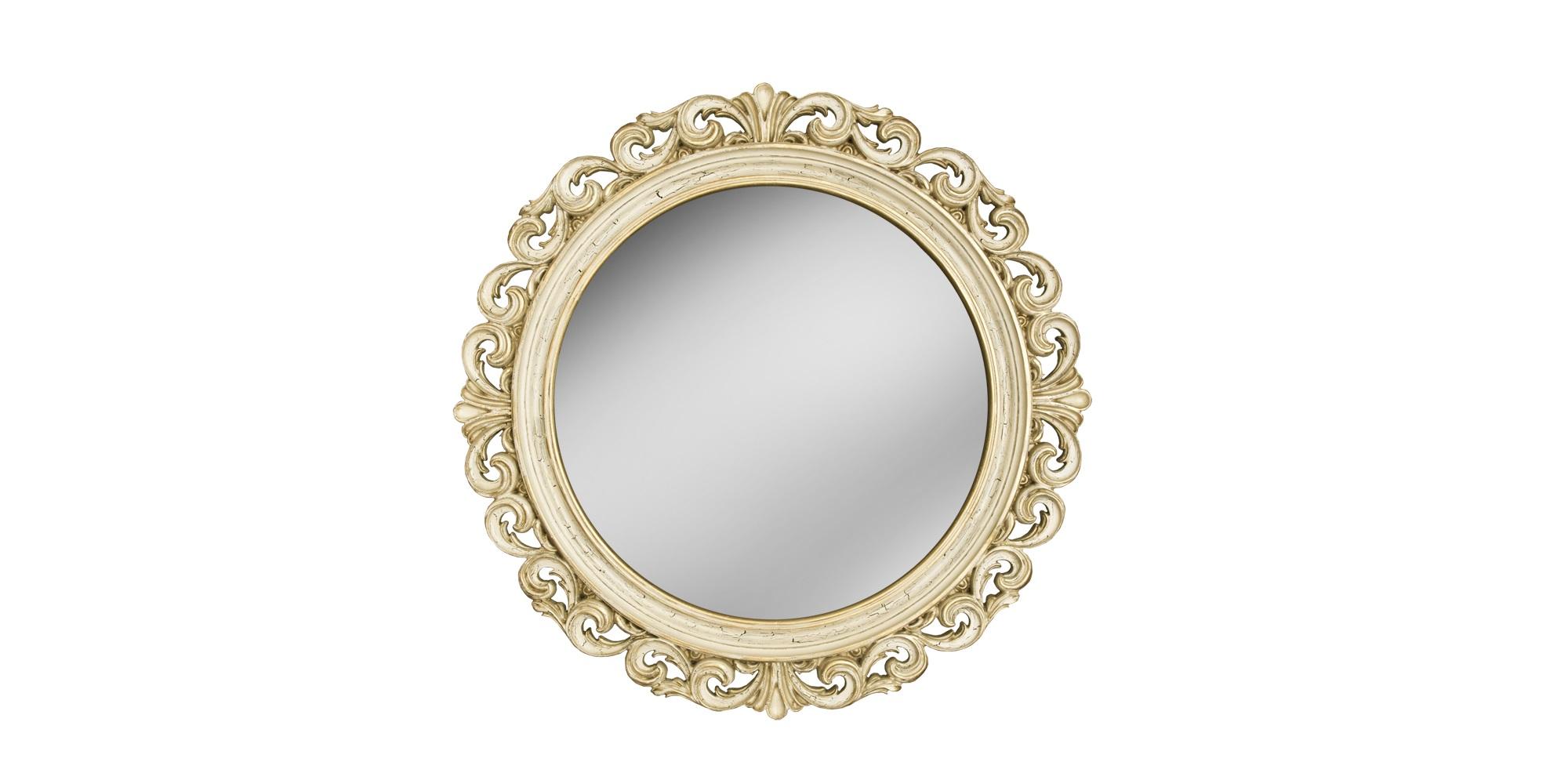 Зеркало РИКИОЛИНастенные зеркала<br>Это круглое зеркало вставлено в эффектную резную раму, оформленную &amp;quot;под старину&amp;quot;. Багет выточен из композитного пенополиуретана. Благодаря сложному окрашиванию его поверхность напоминает натуральную слоновую кость под позолотой, а зеленоватая патина и характерные трещинки усиливают винтажный эффект. ППУ не боится воды и пара, и зеркало можно использовать во влажных помещениях.&amp;lt;br&amp;gt;&amp;lt;br&amp;gt;&amp;lt;div&amp;gt;&amp;lt;div&amp;gt;Исполнение:&amp;amp;nbsp;Слоновая кость Золото Патина Кракелюр&amp;lt;br&amp;gt;&amp;lt;/div&amp;gt;&amp;lt;/div&amp;gt;<br><br>Material: Полиуретан<br>Глубина см: 4