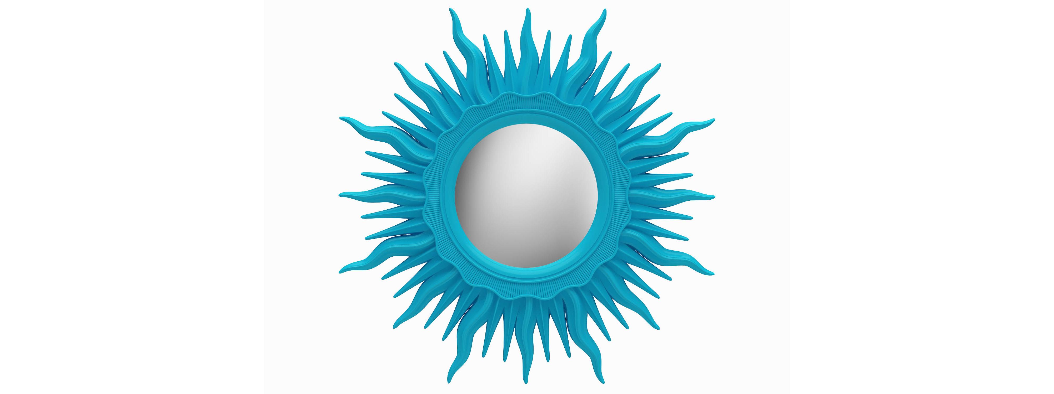Зеркало АСТРОНастенные зеркала<br>&amp;lt;div&amp;gt;Зеркало в виде солнца ? необыкновенная вещица для нестандартного интерьера. Лучи этого светила изготовлены из композитного полиуретана и окрашены в насыщенный бирюзовый оттенок. Солнце цвета неба? Почему бы и нет?! Материал очень крепок, не нужно бояться, что лучи сломаются. Он влагостойкий, поэтому зеркало можно использовать в ванной комнате. В составе ППУ отсутствуют токсичные компоненты, он полностью безопасен для человека.&amp;lt;/div&amp;gt;&amp;lt;div&amp;gt;&amp;lt;br&amp;gt;&amp;lt;/div&amp;gt;&amp;lt;div&amp;gt;&amp;lt;div&amp;gt;Цвет:&amp;amp;nbsp;Бирюза&amp;lt;/div&amp;gt;&amp;lt;/div&amp;gt;<br><br>Material: Полиуретан<br>Глубина см: 4