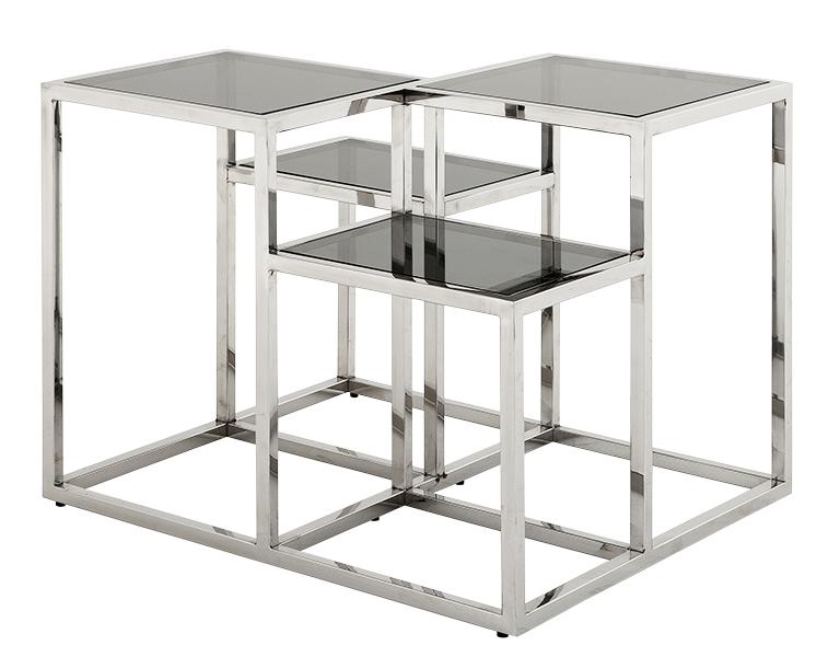 Стол СмитсонКофейные столики<br>Интересная геометрия является главной изюминкой стола от Eichholtz. Она делает его настоящим арт-объектом, который не оставит равнодушными любителей современного искусства. Пропорции конструкции удивительным образом сочетают в себе дисгармонию и симметрию, что делает облик особенно притягательным. Так и хочется всматриваться в хитросплетения стекла и прямых стальных линий, рождающих брутальный образ в стиле лофт.&amp;lt;div&amp;gt;&amp;lt;br&amp;gt;&amp;lt;/div&amp;gt;&amp;lt;div&amp;gt;Материал: нержавеющая сталь/стекло.&amp;lt;/div&amp;gt;<br><br>Material: Сталь<br>Length см: 65<br>Width см: 65<br>Height см: 50