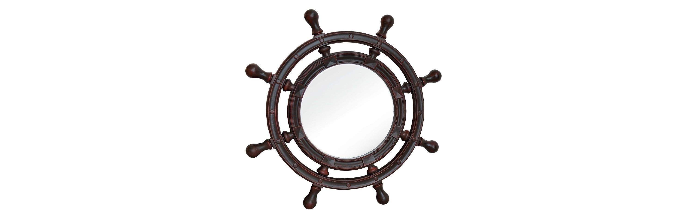Зеркало ШтурвалНастенные зеркала<br>&amp;lt;div&amp;gt;Штурвал на стену — это не банально. Такое зеркало в классических апартаментах — как свежий бриз с моря, а в дерзких современных интерьерах — спокойная гавань без лишнего эпатажа. Рама изготовлена из мебельного полиуретана. Он не боится воды и прочен, как настоящий морской волк. Такое зеркало и в ванной можно повесить, и на открытой всем ветрам террасе. Поверхность ППУ напоминает по текстуре ценные сорта древесины и окрашена в благородный цвет красного дерева.&amp;lt;/div&amp;gt;<br><br>Material: Полиуретан<br>Depth см: 4<br>Diameter см: 96