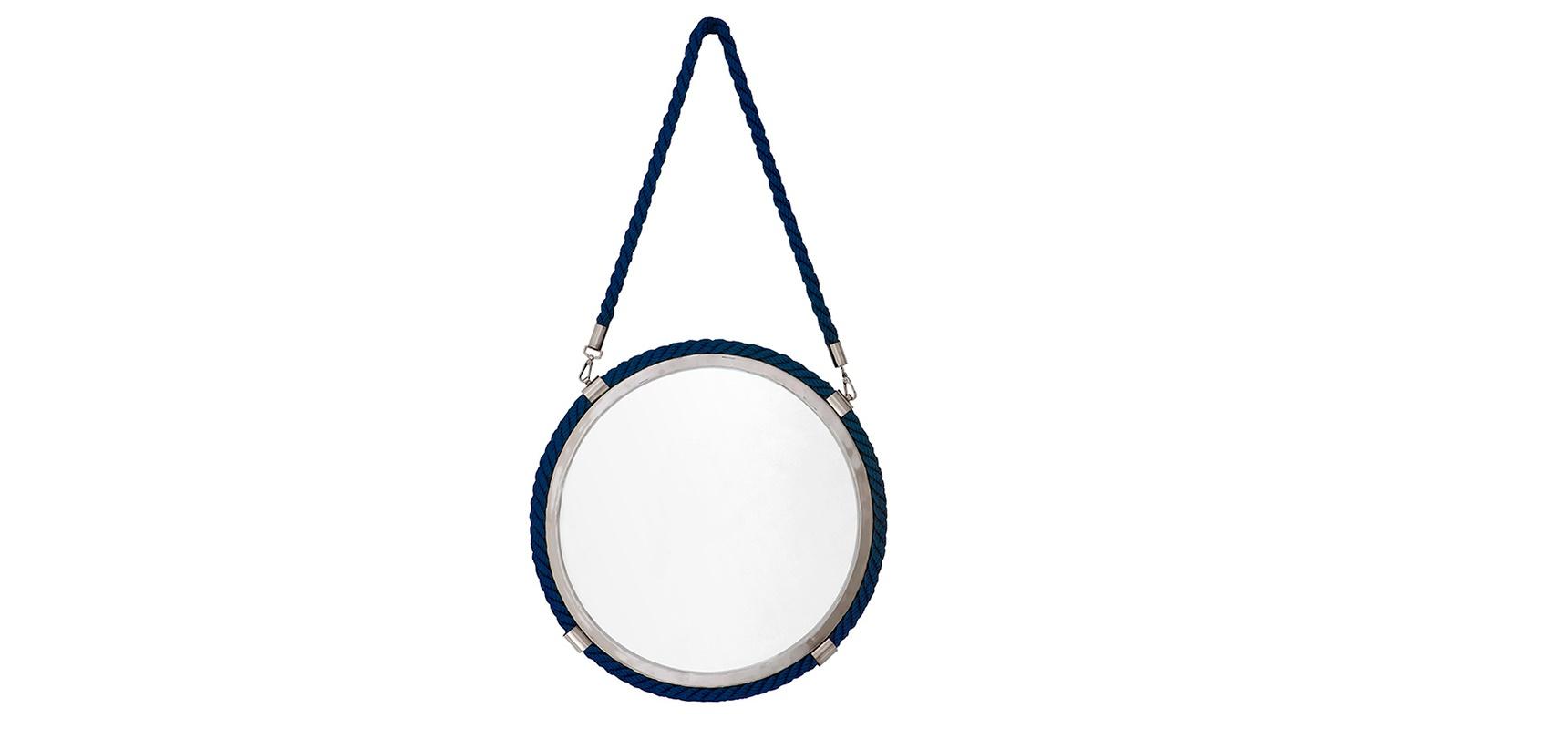 Зеркало СlearwaterНастенные зеркала<br>&amp;lt;div&amp;gt;Зеркало Сlearwater выполнено в лаконичном дизайне. Такая вещь отлично впишется в современный или индустриальный интерьер. Эта модель придется весьма кстати, когда нужно подчеркнуть сдержанность и ненавязчиво добавить ярких акцентов в пространство. Зеркало в металлической рамке имеет дополнительную окантовку синего цвета. Этот завершающий штрих делает аксессуар колоритным и радужным.&amp;lt;br&amp;gt;&amp;lt;/div&amp;gt;&amp;lt;div&amp;gt;&amp;lt;br&amp;gt;&amp;lt;/div&amp;gt;&amp;lt;div&amp;gt;Цвет металла: никель.&amp;lt;/div&amp;gt;<br><br>Material: Текстиль<br>Width см: 58<br>Depth см: 7<br>Height см: 101