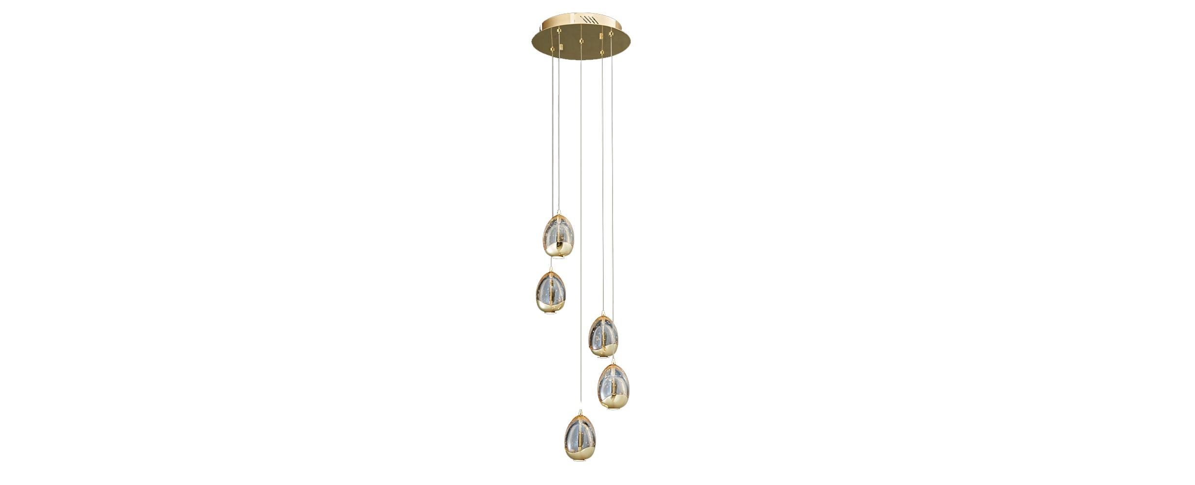 Подвесной светильник TerreneПодвесные светильники<br>Оригинальные круглые плафоны, подвешенные в шахматном порядке, создают абстрактную фигуру, в которой угадывается форма спирали. Она придает силуэту светильника элегантность и добавляет его конструкции динамизм. Несколько ламп, заключенных в объемных стеклянных элементах, мягко распространяют свет, тонущий в золотых искрах цвета шампань. Гламур и изящество, воплощенные в эклектичном дизайне такого светильника, прекрасно дополнят собой современные интерьеры.&amp;lt;div&amp;gt;&amp;lt;br&amp;gt;&amp;lt;/div&amp;gt;&amp;lt;div&amp;gt;Количество лампочек: 5.&amp;lt;/div&amp;gt;&amp;lt;div&amp;gt;Мощность: 5 x 24 Вт.&amp;lt;/div&amp;gt;&amp;lt;div&amp;gt;Тип лампы: LED.&amp;lt;/div&amp;gt;<br><br>Material: Стекло<br>Width см: 30<br>Depth см: 30<br>Height см: 150