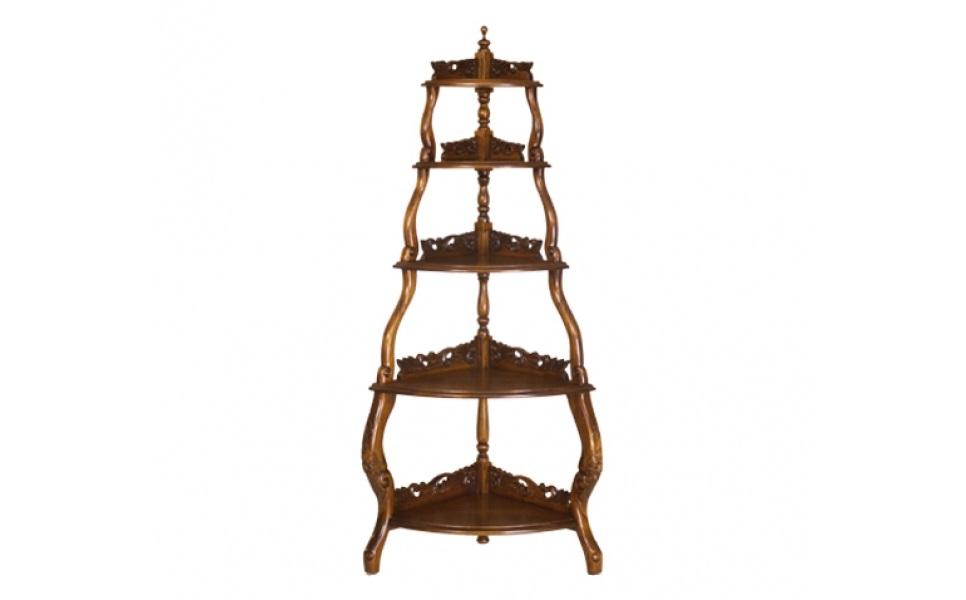 Консоль угловаяИнтерьерные консоли<br>Необычный силуэт этой консоли привлекает внимание. Он напоминает пирамиду, которая выглядит величественно и элегантно одновременно. Изящество пропорциям дарят изгибы боковых деталей, а также резные элементы, украшающие полки. Красное дерево ручной обработки выглядит очень благородно и добавляет классическому силуэту рафинированное благородство.&amp;lt;div&amp;gt;&amp;lt;br&amp;gt;&amp;lt;/div&amp;gt;&amp;lt;div&amp;gt;Выполнено из массива красного дерева. Ручная работа.&amp;lt;/div&amp;gt;<br><br>Material: Красное дерево<br>Ширина см: 63<br>Высота см: 150<br>Глубина см: 43