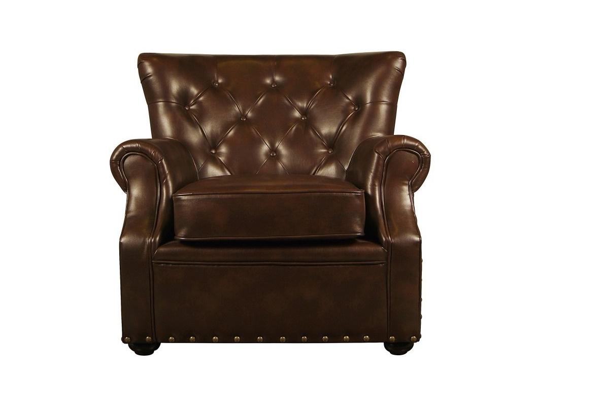 КреслоКожаные кресла<br>Кожаное кресло с впечатляющей широкой спинкой и благородным шоколадным оттенком наполнит пространство комфортом и роскошью. Предмет в сдержанной английской манере подчеркнет успешность и состоятельность его владельца. Классический силуэт дополнен изысканными декоративными элементами – мебельными заклепками и пуговицами-капитоне.&amp;amp;nbsp;<br><br>Material: Кожа<br>Width см: 100<br>Depth см: 90<br>Height см: 95