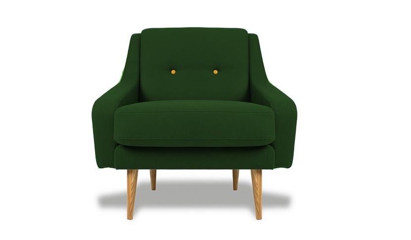 Кресло Одри GREENИнтерьерные кресла<br>&amp;lt;div&amp;gt;&amp;lt;div&amp;gt;Это эффектное кресло в ретро-стиле напоминает мебель середины XX века. Такие предметы интерьера украшали самые стильные гостиные Европы в 60-х. Изящные ножки выточены из массива, в качестве обивки используется текстиль. Внутреннее наполнение сиденья составляет полиуретан. Спинка украшена в технике капитоне крупными декоративными пуговицами.&amp;lt;/div&amp;gt;&amp;lt;/div&amp;gt;&amp;lt;div&amp;gt;&amp;lt;br&amp;gt;&amp;lt;/div&amp;gt;&amp;lt;div&amp;gt;Съемная подушка сиденья&amp;lt;/div&amp;gt;&amp;lt;div&amp;gt;Высота сиденья 42 см&amp;lt;/div&amp;gt;<br><br>Material: Текстиль<br>Width см: 85<br>Depth см: 85<br>Height см: 85