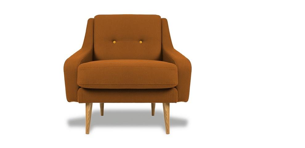 Кресло Одри ORANGEИнтерьерные кресла<br>&amp;lt;div&amp;gt;Оригинальное кресло в стиле 60-х ? настоящая находка для ценителей винтажной мебели. Внешне оно ? точная копия мебели времен Одри Хэпберн, но произведенное с использованием современных технологий и материалов. Ножки выточены из натурального массива дуба, внутренний наполнитель ? практичный полиуретан, в качестве обивки ? износостойкий текстиль, необычайно приятный на ощупь. Съемная подушка сиденья имеет высоту 42 см, а спинка украшена декоративными пуговицами.&amp;lt;/div&amp;gt;<br><br>Material: Текстиль<br>Ширина см: 85<br>Высота см: 85<br>Глубина см: 85