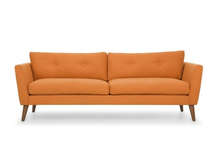Трехместный диван хадсон l orange (vysotkahome) оранжевый 209x79x89 см.