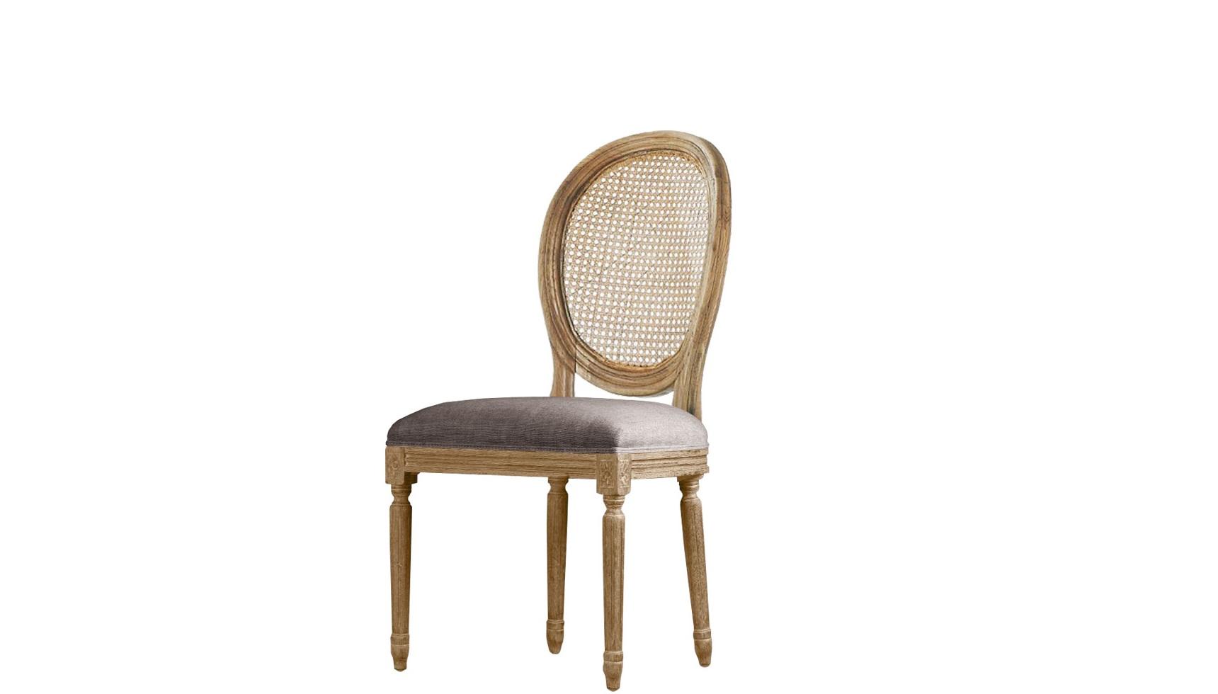 Стул с ротанговым плетением Louis Rattan side chairОбеденные стулья<br>&amp;quot;Louis Rattan Side Chair&amp;quot; ? стул, идеально подходящий для посиделок на летней веранде или душевных семейных обедов. Его облик, созданный единением роскоши и простоты, так и побуждает к полному расслаблению. Ажурное плетение из ротанга, резные элементы на натуральной древесине и текстильная обивка нейтрального оттенка ? все это создает интересный образ. Сочетание экзотической отделки, провинциального шарма и роскоши французского силуэта покорит любого.<br><br>Material: Текстиль<br>Width см: 52<br>Depth см: 62<br>Height см: 95