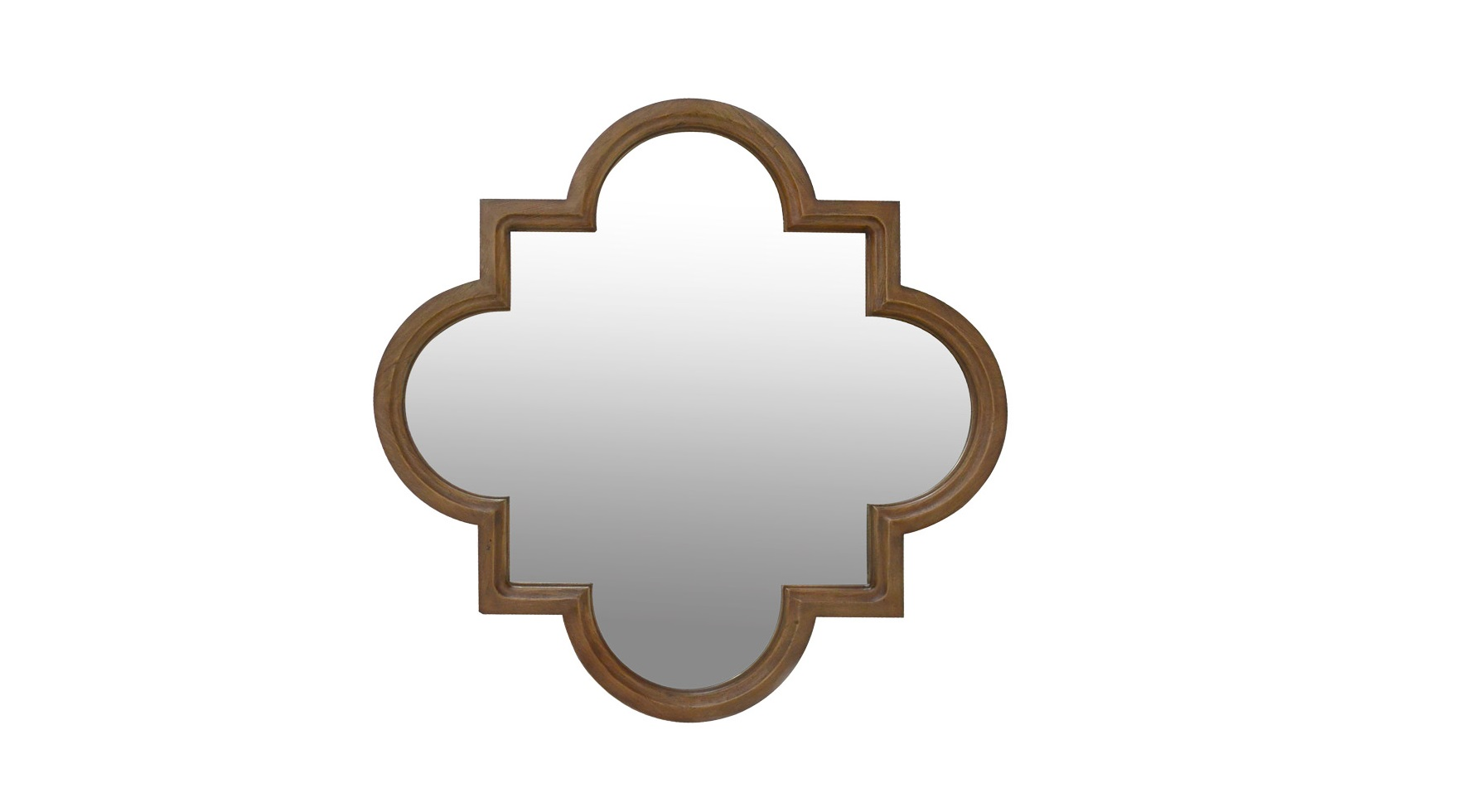 Зеркало Fez MirrorНастенные зеркала<br>&amp;quot;Fez Mirror&amp;quot; ? оригинальное зеркало, главной изюминкой которого выступает рама. Она выполнена в форме популярного византийского орнамента, известного как четырехлистник или квадрифоль. Пропорции, созданные на основе сочетания квадрата и круга выглядят контрастно, но гармонично. Благодаря сдержанной отделке противоречивый силуэт смотрится простым и романтичным. Он подходит для многих стилей ? от шебби-шика и прованса, до элегантного французского дизайна.<br><br>Material: Дерево<br>Width см: 110<br>Depth см: 5<br>Height см: 110