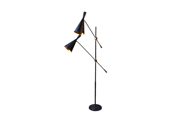 Напольная лампа Oster Double Floor LampТоршеры<br>&amp;quot;Oster Double Floor Lamp&amp;quot; ? интересный торшер, который покоряет не только своими оригинальными формами, но и практичностью. Продуманная конструкция из черного металла оснащена поворотными механизмами. При помощи такой лампы можно расставлять акценты без особых усилий, задавая свету необходимое направление. В рабочем кабинете, гостиной или арт-мастерской торшер будет выглядеть особенно уместно, идеально вписываясь в эклектичное оформление.&amp;lt;div&amp;gt;&amp;lt;br&amp;gt;&amp;lt;/div&amp;gt;&amp;lt;div&amp;gt;Тип лампы: накаливания, E14&amp;lt;/div&amp;gt;&amp;lt;div&amp;gt;Мощность: 2 x 40 Вт&amp;lt;/div&amp;gt;&amp;lt;div&amp;gt;Количество лампочек: 2&amp;lt;/div&amp;gt;&amp;lt;div&amp;gt;Лампа в комплект входит&amp;lt;/div&amp;gt;<br><br>Material: Металл<br>Width см: 100<br>Depth см: 100<br>Height см: 170