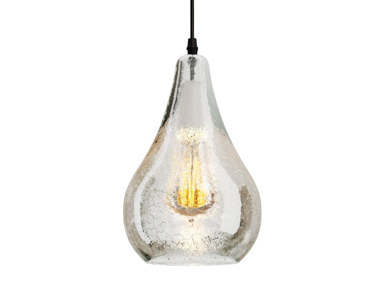 Подвесной светильник Droplet ChandelierПодвесные светильники<br>Лампа в лампе? Интересные пропорции делают облик светильника &amp;quot;Droplet Chandelier&amp;quot; таким эклектичным, ярким и производящим впечатление. Они превращают его в предмет искусства, способный стать настоящим украшением для нетривиальных интерьеров. Плафон, повторяющий формы находящейся в нем лампы, создает эффект рекурсии, которая никого не оставляет равнодушным. Окраска перламутром, выполненная в технике кракелюр, придает очарование дизайну, делая его более элегантным.&amp;lt;div&amp;gt;&amp;lt;br&amp;gt;&amp;lt;/div&amp;gt;&amp;lt;div&amp;gt;Подвесной светильник выполнен из прозрачного стекла с декоративными трещинками.&amp;lt;/div&amp;gt;&amp;lt;div&amp;gt;Внутри расположена лампа.&amp;lt;/div&amp;gt;&amp;lt;div&amp;gt;Высота светильника регулируется.&amp;lt;/div&amp;gt;&amp;lt;div&amp;gt;Цоколь: E27&amp;lt;/div&amp;gt;&amp;lt;div&amp;gt;Мощность: 40W&amp;lt;/div&amp;gt;&amp;lt;div&amp;gt;Количество ламп: 1&amp;lt;/div&amp;gt;&amp;lt;div&amp;gt;Лампа входит в комплект&amp;lt;/div&amp;gt;<br><br>Material: Стекло<br>Height см: 26<br>Diameter см: 15