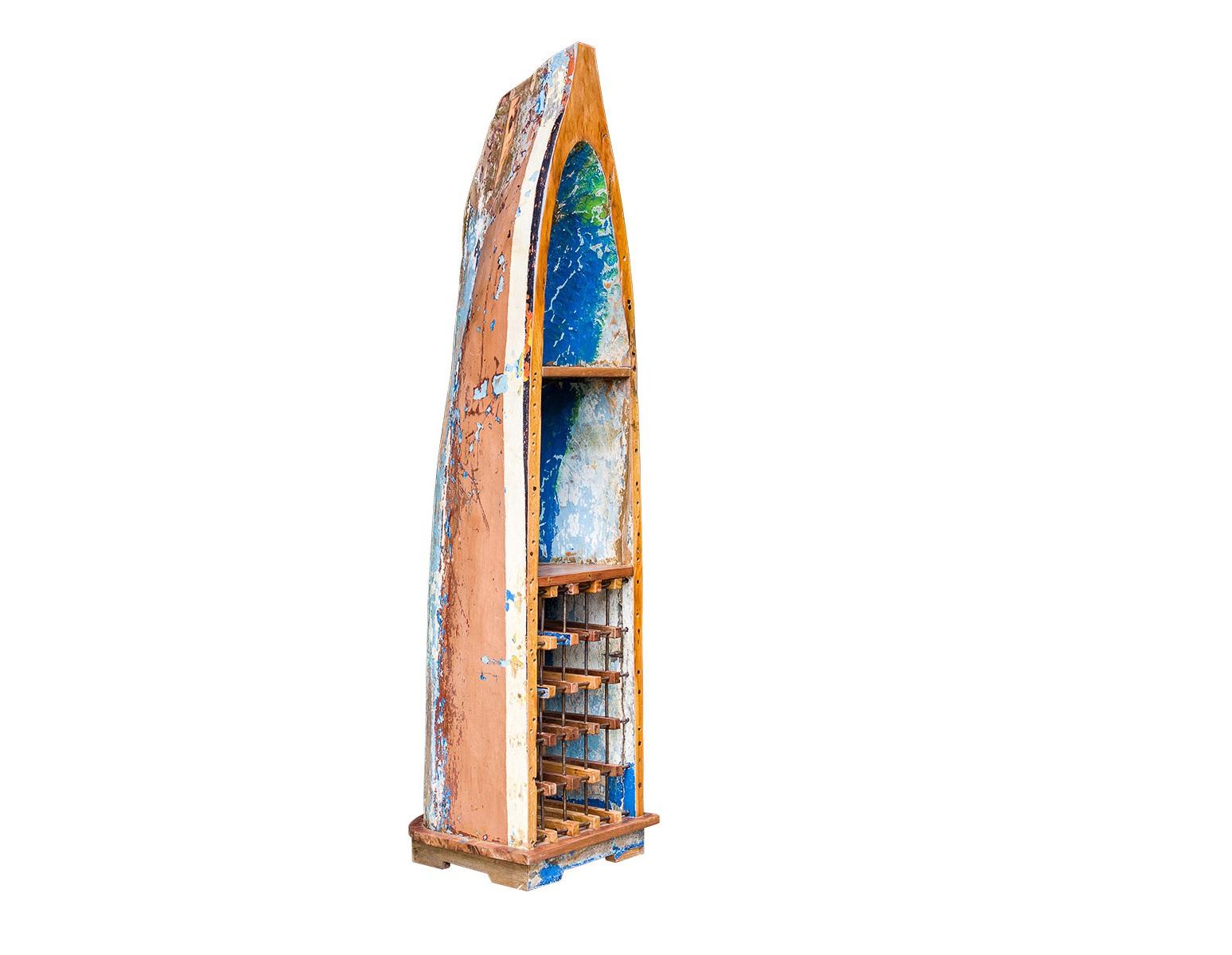 Лодка для вина ЛаперузВинные шкафы<br>&amp;lt;div&amp;gt;Если память хранит наши воспоминания, то вкус вина хранит ощущения и переживания. Лодка&amp;amp;nbsp;&amp;quot;Лаперуз&amp;quot; станет борт-проводником для создания ностальгической атмосферы. Представьте, как вы открываете бутылку, привезенную из путешествия, и мысленно перемещаетесь в то время. Приятные эмоции и легкая улыбка обеспечены.&amp;lt;/div&amp;gt;&amp;lt;div&amp;gt;&amp;lt;br&amp;gt;&amp;lt;/div&amp;gt;Винный шкаф выполнен из старой рыбацкой лодки классической правильной формы с сохранением оригинальной многослойной окраски.<br>Хранит до 15 бутылок. <br>Подходит для использования как внутри помещения, так и снаружи. <br>Сборка не требуется. <br>Покрытие: шеллак <br>Материал: массив тика (махогони, суара)<br><br>Material: Тик<br>Length см: 58<br>Width см: 51<br>Height см: 222