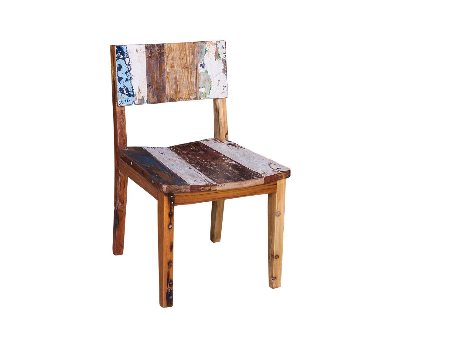 Обеденный стул ТерезаОбеденные стулья<br>&amp;lt;div&amp;gt;Индивидуальный интерьер создает индивидуальная мебель. Обеденный стул &amp;quot;Тереза&amp;quot; можно отнести к самобытным предметам. Каркас изготовлен из старых досок, покрытых мелкими трещинами и сколами. А чтобы оживить потрепанную внешность, дизайнеры добавили несколько тонов краски. Так получился своенравный стул в стиле кантри.&amp;lt;/div&amp;gt;&amp;lt;div&amp;gt;&amp;lt;br&amp;gt;&amp;lt;/div&amp;gt;Стул выполнен из массива древесины старого рыбацкого судна, такой как: тик, махогон, суар, с сохранением оригинальной многослойной окраски. Сборка не требуется.<br>Страна производитель - Индонезия.<br><br>Material: Тик<br>Length см: 50<br>Width см: 55<br>Height см: 85
