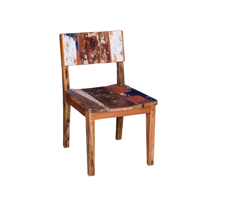 Обеденный стул ТерезаОбеденные стулья<br>&amp;lt;div&amp;gt;&amp;lt;span style=&amp;quot;line-height: 24.9999px;&amp;quot;&amp;gt;Превратить стандартный стул в самобытный предмет? Легко! Основу образа стула &amp;quot;Тереза&amp;quot; составляют старые, потрепанные временем доски. Налет художественности придает неровно нанесенная краска в основании спинки и сидения.Такой предмет может стать жителем современной кухни или паба.&amp;amp;nbsp;&amp;lt;/span&amp;gt;&amp;lt;br&amp;gt;&amp;lt;/div&amp;gt;&amp;lt;div&amp;gt;&amp;lt;br&amp;gt;&amp;lt;/div&amp;gt;Стул выполнен из массива древесины старого рыбацкого судна, такой как: тик, махогон, суар, с сохранением оригинальной многослойной окраски. Сборка не требуется.<br>Страна производитель - Индонезия.<br><br>Material: Тик<br>Length см: 50<br>Width см: 55<br>Height см: 85