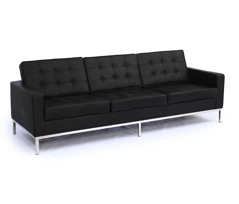 Диван трехместный Knoll ЧерныйКожаные диваны<br>&amp;quot;Knoll&amp;quot; ? классика, которая завораживает ценителей минимализма с 1954 года. Этот диван, созданный легендарной Флоренс Кнолл, отличается практичностью и комфортом. Металлическая полированная база и сиденье из черной кожи высшего качества делают его отменным дополнением для пространств любого стиля и цветового оформления. Современный интерьер, лофт или аскетизм ? солидный диван всюду будет выглядеть уместно и гармонично.&amp;lt;div&amp;gt;&amp;lt;br&amp;gt;&amp;lt;/div&amp;gt;&amp;lt;div&amp;gt;Данная модель дивана Knoll изготовлена из кожи коллекции Rome, произведенной в Италии. Вы можете выбрать один из 11 насыщенных и благородных оттенков.&amp;lt;/div&amp;gt;&amp;lt;div&amp;gt;Срок изготовления: 20-25 рабочих дней после оплаты заказа.&amp;amp;nbsp;&amp;lt;/div&amp;gt;<br><br>Material: Кожа<br>Width см: 204<br>Depth см: 80<br>Height см: 80