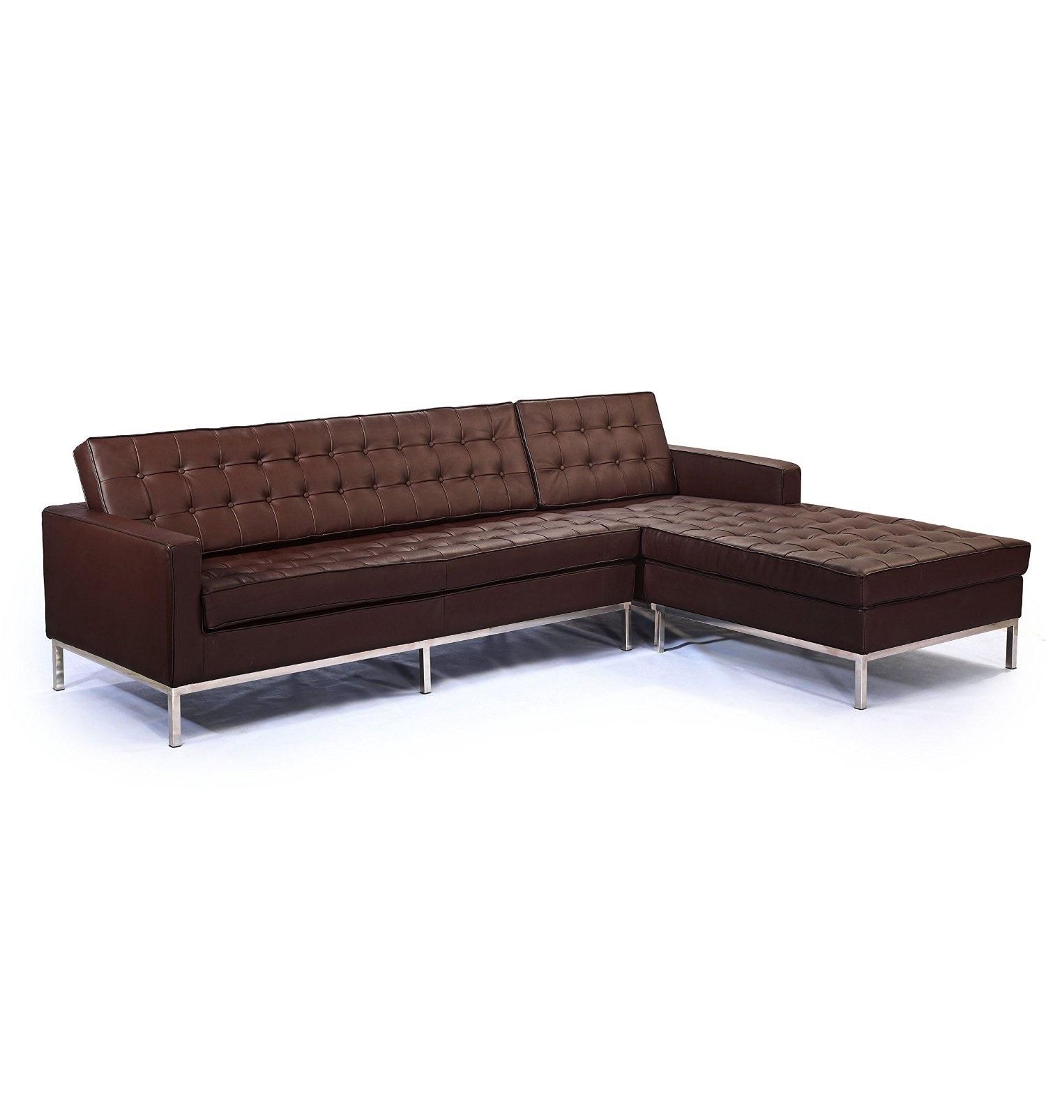 Диван четырехместный  Knoll corner sofaКожаные диваны<br>Сдержанное оформление этого вместительного дивана было создано известной Флоренс Кнолл в 1954 году. Ученица Людвига Мис ван дер Роэ использовала в своем творении его страсть к безупречным пропорциям. Идеальная геометрия дивана сделала его облик благородным и роскошным. Сиденье из коричневой кожи, возвышающееся на полированных ножках из металла, выглядит аскетично в отсутствии отделки. Облик дивана послужит идеальным дополнением для промышленных, минималистичных и современных гостиных.&amp;lt;div&amp;gt;&amp;lt;br&amp;gt;&amp;lt;/div&amp;gt;&amp;lt;div&amp;gt;Данная модель дивана Knoll изготовлена из кожи коллекции Rome, произведенной в Италии. Вы можете выбрать один из 11 насыщенных и благородных оттенков.&amp;lt;/div&amp;gt;&amp;lt;div&amp;gt;Срок изготовления: 20-25 рабочих дней после оплаты заказа.&amp;lt;/div&amp;gt;<br><br>Material: Кожа<br>Width см: 250<br>Depth см: 80<br>Height см: 80