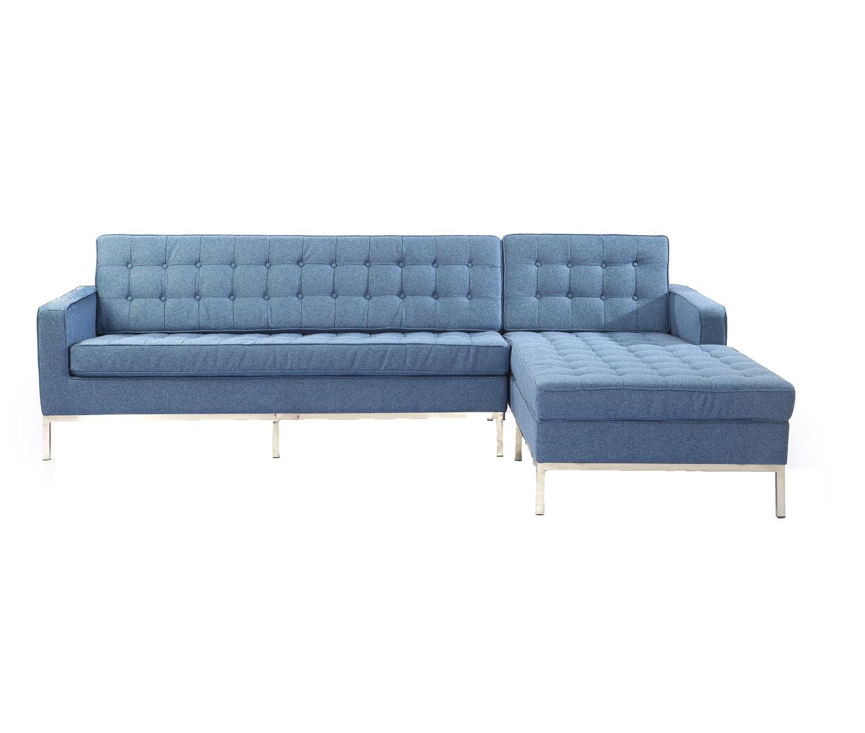 Диван четырехместный Knoll corner sofaУгловые диваны<br>Этот вместительный угловой диван создан известным дизайнером Флоренс Нолл. В данном творении чувствуется влияние ее учителя Людвига Мис ван дер Роэ, отдававшего предпочтение четким формам. Строгая геометрия дивана помогает ему смотреться таким аккуратным и завораживать своим аскетизмом. Голубая тканевая обивка, ассоциирующаяся с безоблачным небом, делает минималистичный облик оригинальным. Такой диван отлично подходит для украшения современных гостиных, которым не хватает красок. &amp;amp;nbsp; &amp;amp;nbsp;&amp;amp;nbsp;&amp;lt;div&amp;gt;&amp;lt;br&amp;gt;&amp;lt;/div&amp;gt;&amp;lt;div&amp;gt;Для дивана используется высококачественная, износостойкая ткань коллекций Paris и Furor. Вы можете выбрать из 28 благородных оттенков.<br>Ткань характеризуется высокой прочностью, устойчивостью к химическому и световому воздействиям, не линяет, не скатывается и не впитывает жидкость.&amp;lt;/div&amp;gt;&amp;lt;div&amp;gt;Срок изготовления: 20-25 рабочих дней после оплаты заказа.&amp;lt;/div&amp;gt;<br><br>Material: Текстиль<br>Width см: 250<br>Depth см: 80<br>Height см: 80