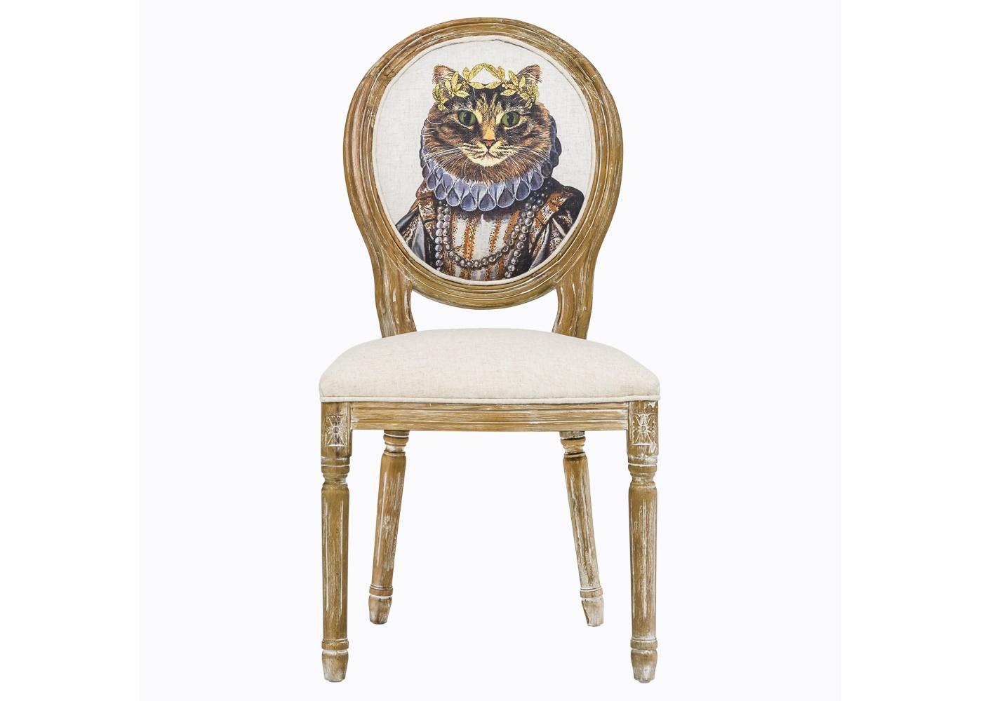 Стул «Мисс Кошка Лайт»Обеденные стулья<br>Винтажный стул в остромодном стиле шебби-шик – свежий взгляд на «ретро». Он превосходно впишется в интерьер в духе Прованса, оживит комнату в стиле модерн, да и классическим «английским» апартаментам нотку радости придаст. Качественная натуральная древесина, из которой выточен каркас, искусственно состарена, выбелена. А округлую спинку украшает не какой-нибудь стандартный велюр, а портрет знатной дамы. Правда, с ушками торчком и усами, но тем веселее! Вес стула составляет 7 кг.<br><br>Material: Текстиль<br>Length см: 50<br>Width см: 57<br>Height см: 98