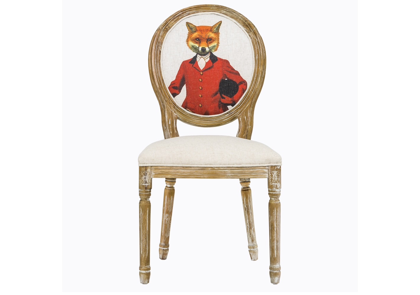 Стул «Мистер Лис Лайт»Обеденные стулья<br>Прекрасный стул ручной работы мог бы стать стандартной винтажной вещицей. Но как бы не так! Его спинку-медальон украшает изображение лихого жокея с… лисьей мордочкой. Исторический костюм и горделивая осанка выдают в нем личность чистых кровей. А в хозяине этой мебели – отличный вкус, чувство юмора и любовь к эклектике. Умело смешанные французский шик и ультрасовременный поп-арт и являют это мебельное чудо. Каркас и ножки изготовлены из цельной древесины с тонкой резьбой, а ткань обивки имеет тефлоновое покрытие для защиты от загрязнений.<br><br>Material: Текстиль<br>Ширина см: 50.0<br>Высота см: 98.0<br>Глубина см: 57.0