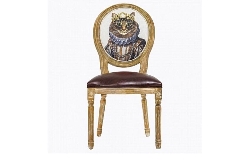 Стул «Мисс Кошка»Обеденные стулья<br>&amp;lt;div&amp;gt;Винтажный стул в остромодном стиле шебби-шик – свежий взгляд на «ретро». Он превосходно впишется в интерьер в духе Прованса, оживит комнату в стиле модерн, да и классическим «английским» апартаментам нотку радости придаст. Качественная натуральная древесина, из которой выточен каркас, искусственно состарена, выбелена. А округлую спинку украшает не какой-нибудь стандартный велюр, а портрет знатной дамы. Правда, с ушками торчком и усами, но тем веселее! Вес стула составляет 7 кг. Обивка сиденья – эко-кожа.&amp;lt;/div&amp;gt;<br><br>Material: Кожа<br>Length см: 50<br>Width см: 57<br>Height см: 98