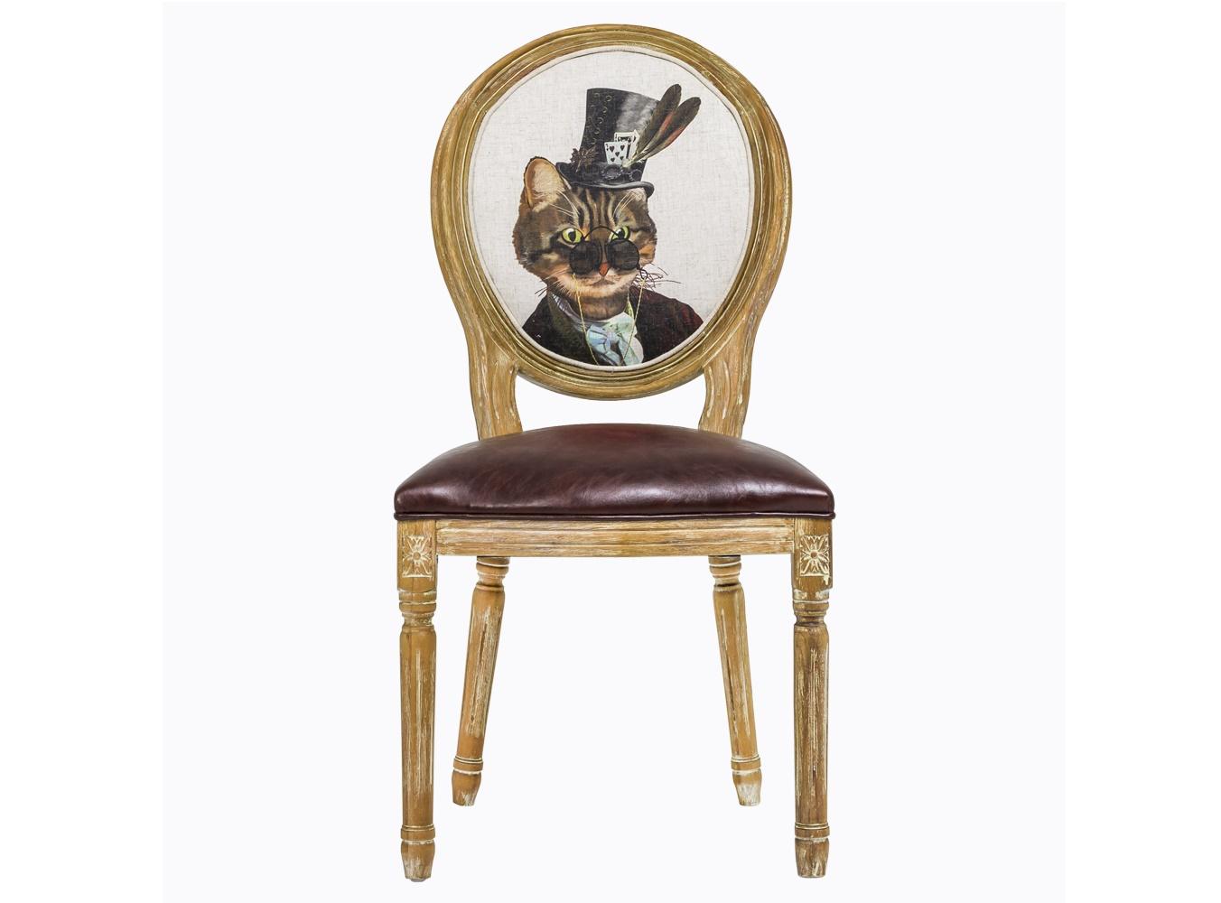 Стул «Мистер Кот»Обеденные стулья<br>&amp;lt;div&amp;gt;Стулья в стиле шебби-шик – не просто копия замшелой старины. Это особое настроение и абсолютно новая подача привычных вещей. Смелая комбинация ретро и ультрасовременного стиля поп-арт? Почему бы и нет! Каркас этого стула выточен из цельного массива и искусственно состарен. Обивку из эко-кожи не так легко испачкать, а вот почистить – не проблема. На спинке – принт с изображением усатого и полосатого господина в цилиндре. Вес стула равен 7 кг.&amp;lt;/div&amp;gt;<br><br>Material: Кожа<br>Length см: 50<br>Width см: 57<br>Height см: 98