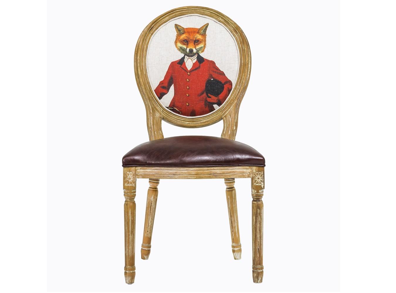 Стул «Мистер Лис»Обеденные стулья<br>&amp;lt;div&amp;gt;Прекрасный стул ручной работы мог бы стать стандартной винтажной вещицей. Но как бы не так! Его спинку-медальон украшает изображение лихого жокея с… лисьей мордочкой. Исторический костюм и горделивая осанка выдают в нем личность чистых кровей. А в хозяине этой мебели – отличный вкус, чувство юмора и любовь к эклектике. Умело смешанные французский шик и ультрасовременный поп-арт и являют это мебельное чудо. Каркас и ножки изготовлены из цельной древесины с тонкой резьбой. Обивка сиденья выполнена из практичной эко-кожи.&amp;lt;/div&amp;gt;<br><br>Material: Кожа<br>Length см: 50<br>Width см: 57<br>Height см: 98