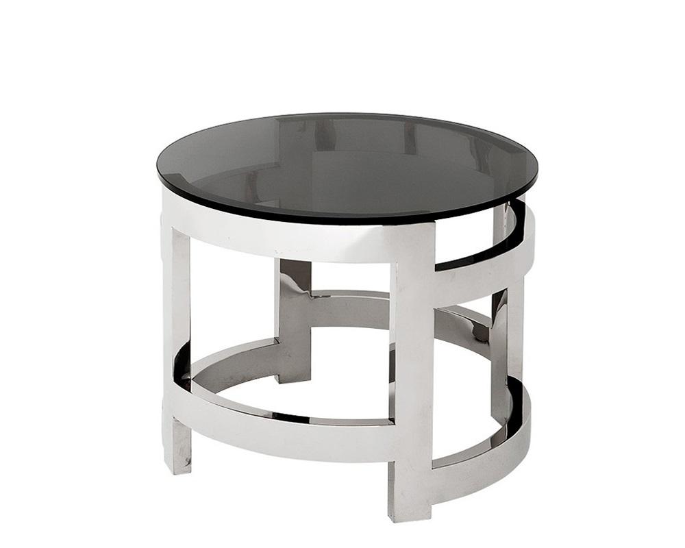 СтолКофейные столики<br>Стол из коллекции &amp;quot;Emporio&amp;quot; отличается динамичным оформлением. Холодная сталь будто находится в постоянном движении. Такое впечатление создается за счет металлических полуцилиндров, расположенных в особенном порядке. Возвышающееся над ними стекло словно левитирует в воздухе. Конструкция, в которой легкость противопоставлена брутальности, идеально вживется в интерьеры в стиле лофт.&amp;lt;div&amp;gt;&amp;lt;br&amp;gt;&amp;lt;/div&amp;gt;&amp;lt;div&amp;gt;Столик с каркасом из нержавеющей стали. Столешница выполнена из плотного стекла дымчатого цвета.&amp;lt;/div&amp;gt;<br><br>Material: Стекло<br>Height см: 50<br>Diameter см: 60