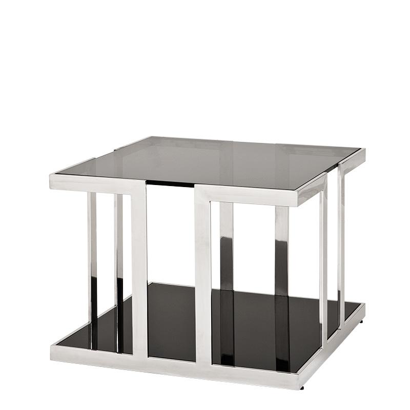 СтолЖурнальные столики<br>Этот оригинальный стол из коллекции &amp;quot;Side Treasure&amp;quot; ломает воображение своей уникальной геометрией. Отполированные до блеска ножки растворяются в блеске черного глянца. В многочисленных отражениях разрушаются правильные пропорции куба, лежащего в основе формы стола. Оригинальный силуэт в аскетичной отделке ? идеальный вариант для пространств в стиле лофт, где приветствуются новые решения.&amp;lt;div&amp;gt;&amp;lt;br&amp;gt;&amp;lt;/div&amp;gt;&amp;lt;div&amp;gt;Столик с металлическими ножками из нержавеющей стали. Столешница из плотного темно-серого стекла.&amp;lt;/div&amp;gt;<br><br>Material: Стекло<br>Width см: 65<br>Depth см: 65<br>Height см: 55