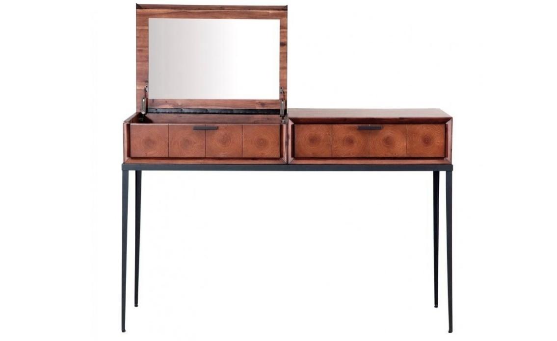 Стол туалетный EmersonТуалетные столики<br>Это не просто туалетный столик, это миниатюрная сокровищница. Компактный столик с минимумом отделки воплощает мечты девушек о ларце, куда можно спрятать косметику, бижутерию, парфюмерию и прочие нужные мелочи.&amp;amp;nbsp;&amp;quot;Emerson&amp;quot; состоит из двух ящиков с откидной крышкой, под которой спрятано зеркало. Хороший вариант для оформления личного будуара в эко-стиле.<br><br>Material: Тополь<br>Width см: 125<br>Depth см: 45<br>Height см: 83
