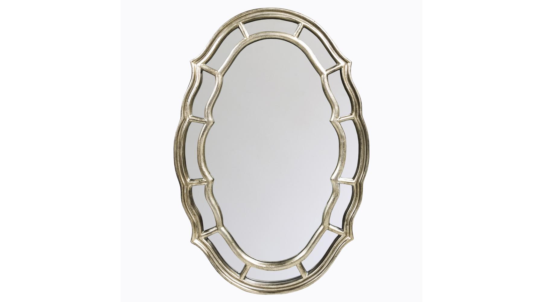 Настенное зеркало «Марлен»Настенные зеркала<br>Рама для этого зеркала напоминает паутину – теплого жемчужного оттенка, с характерной «плывущей» геометрией и невесомая. Полиуретан, из которого изготовлено обрамление, не боится влаги, прочен и практичен, поэтому зеркало можно повесить и в жилой комнате, и в ванной. Зеркальная поверхность имеет толщину 5 мм и покрыта серебряной амальгамой, которая не искажает отражения. Вес изделия составляет 6,8 кг.<br><br>Material: Полиуретан<br>Width см: 70<br>Depth см: 4<br>Height см: 103